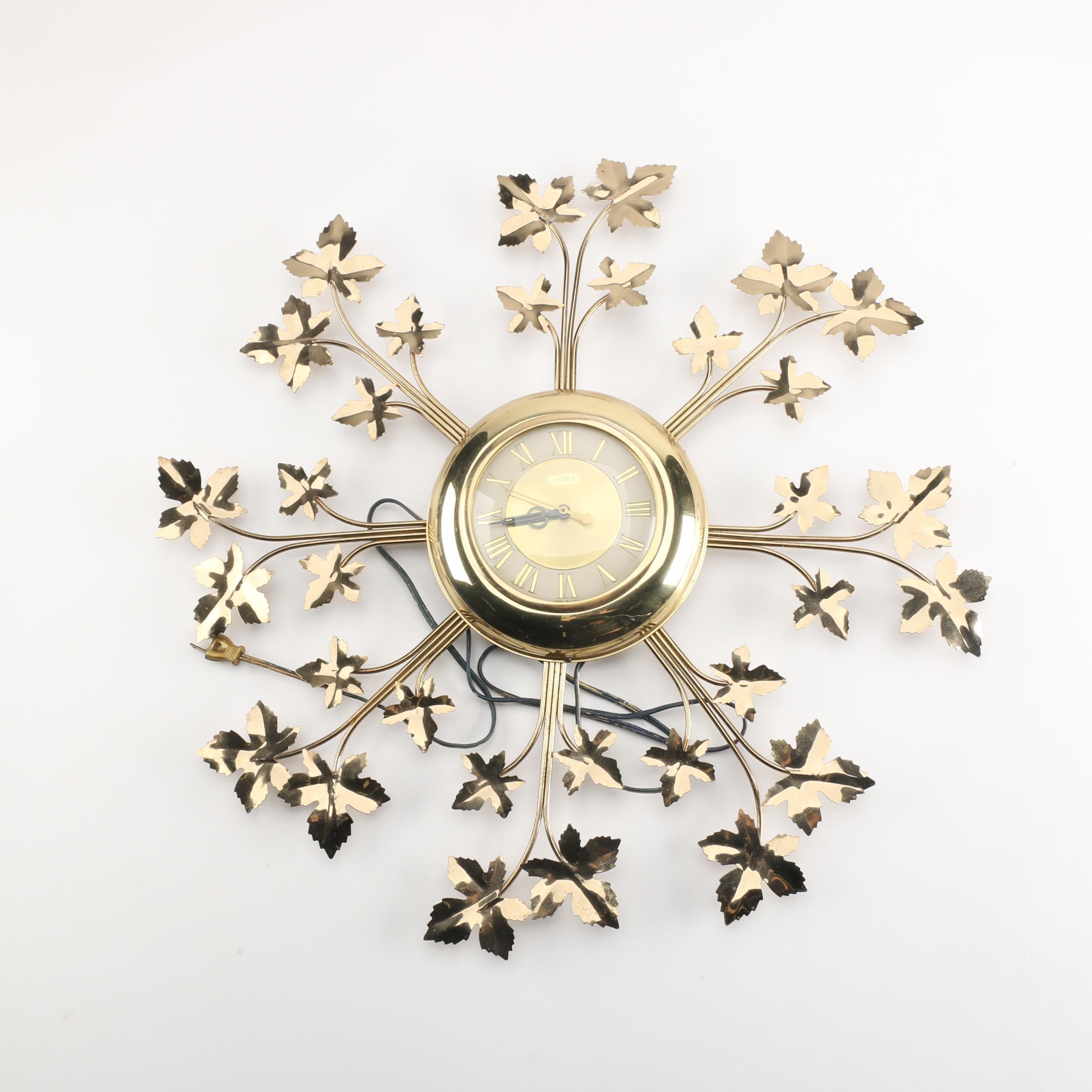 Mid Century United Starburst Leaf Wall Clock