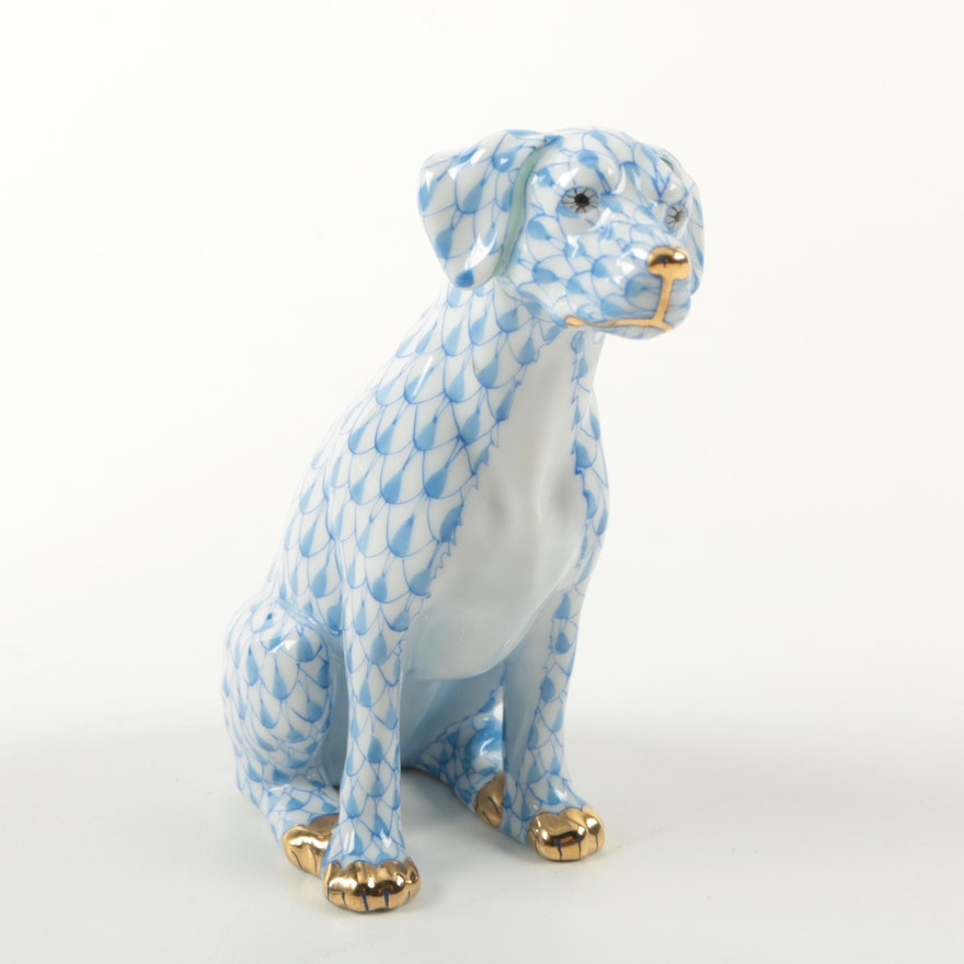 First Edition Herend Hungary Hand Painted Dog Figurine