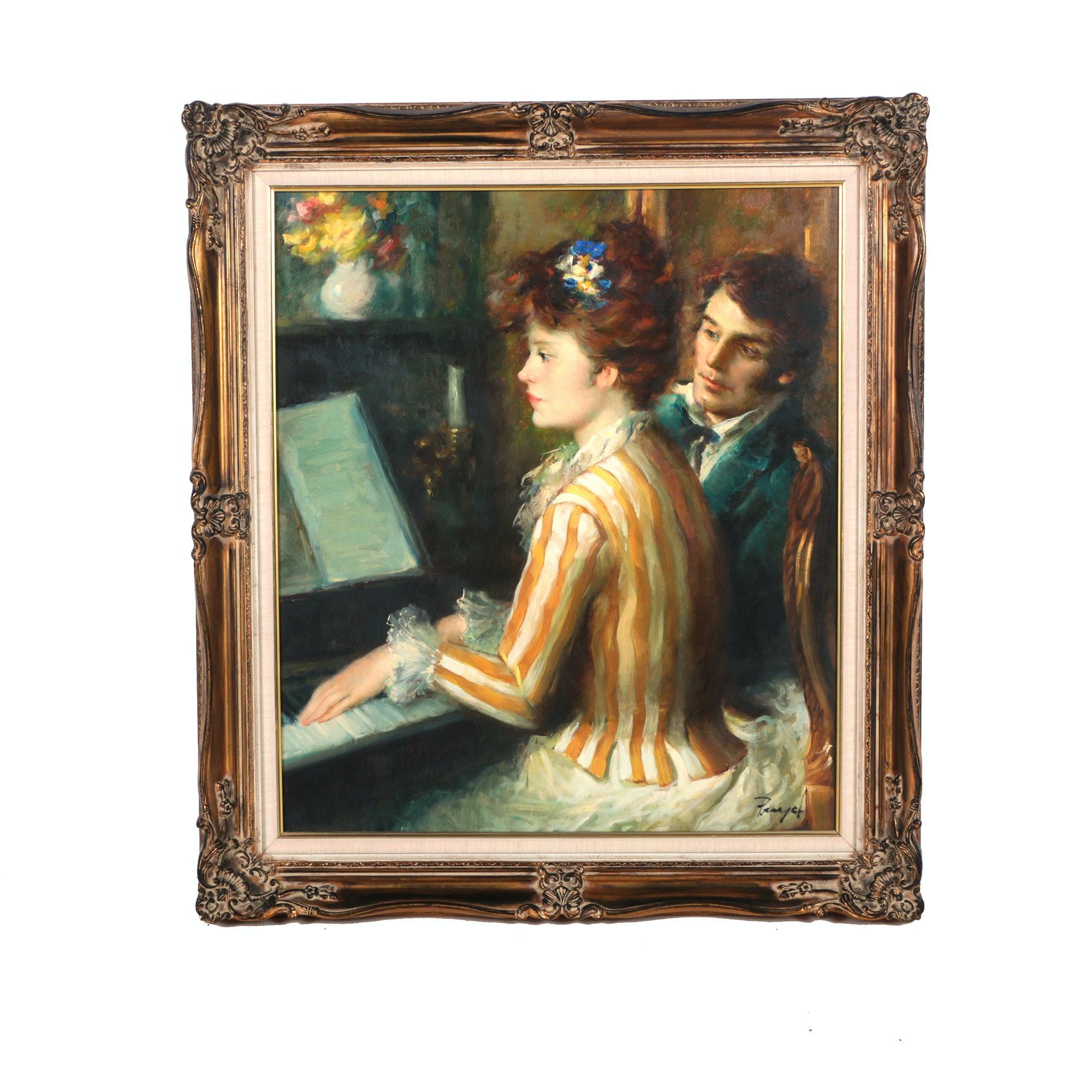 "Jose Puyet Oil on Canvas ""La Lecion"""