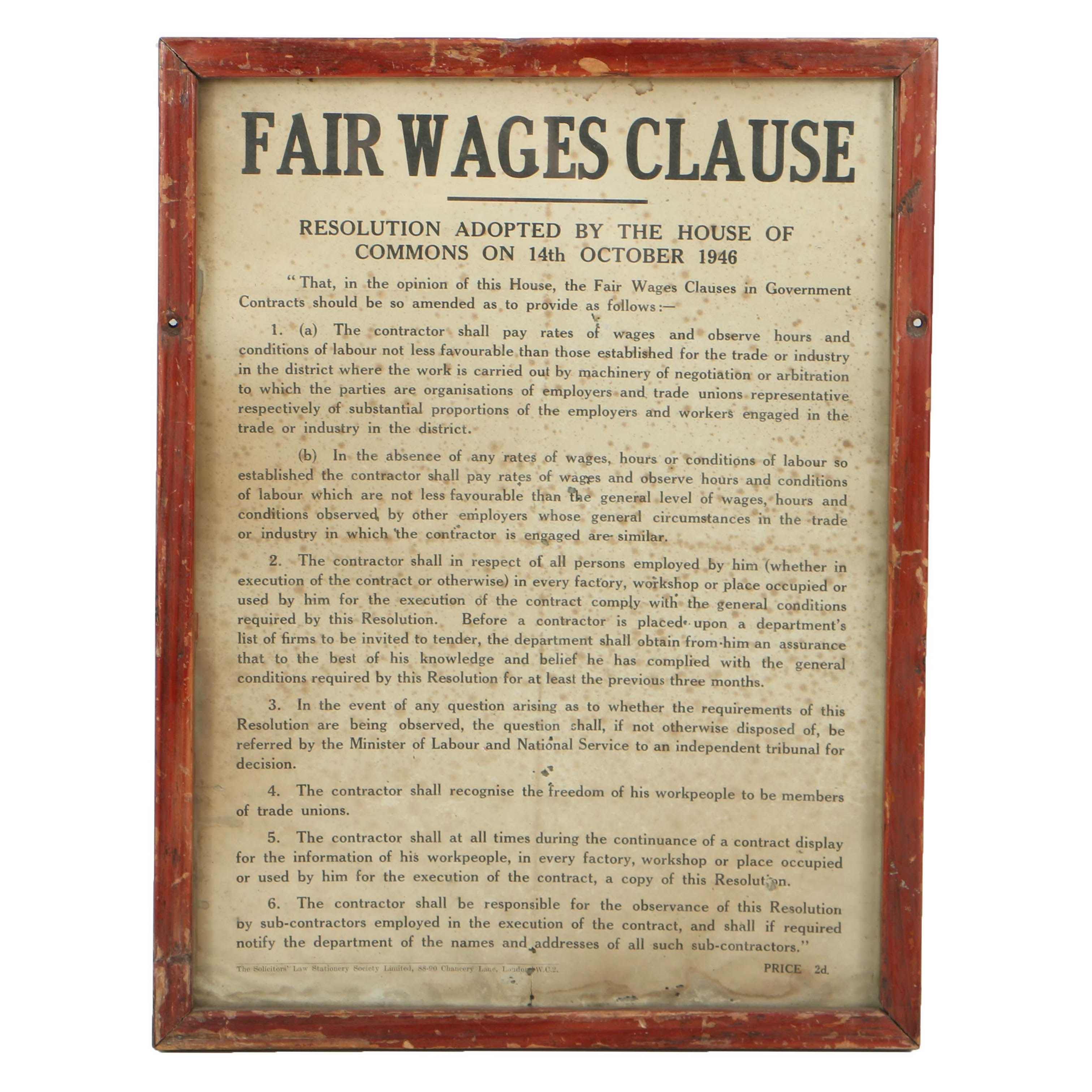 1946 London Fair Wages Clause