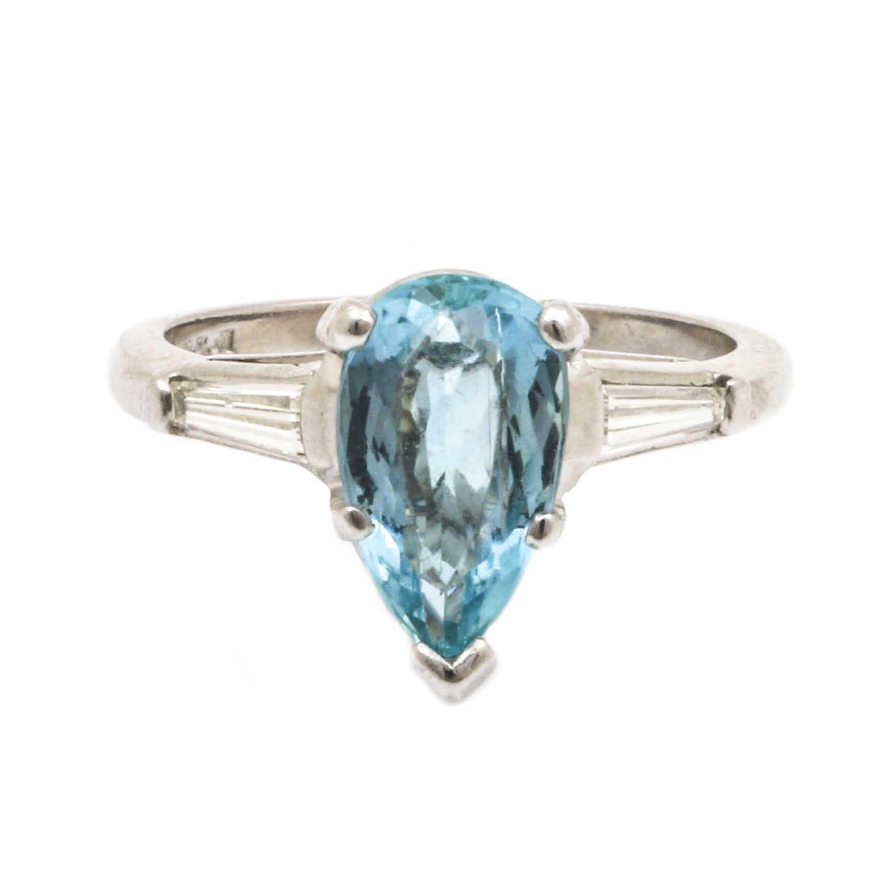 Platinum 1.38 CT Aquamarine and Diamond Ring