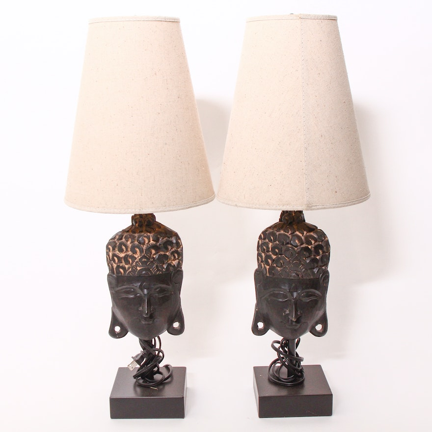 Carved wooden african style mask table lamps ebth carved wooden african style mask table lamps mozeypictures Image collections