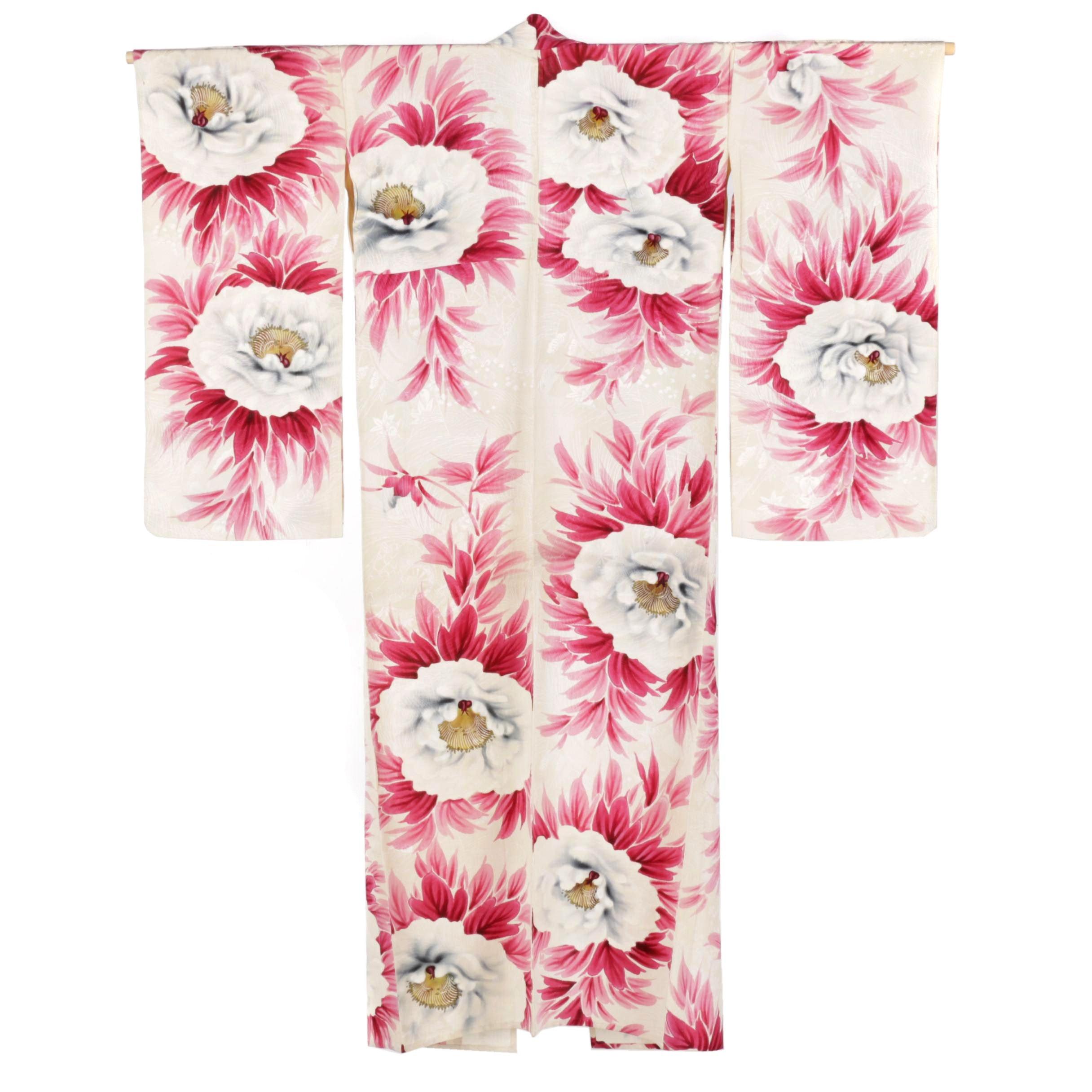 Circa 1920s Vintage Hand Silk Crepe Furisode Kimono