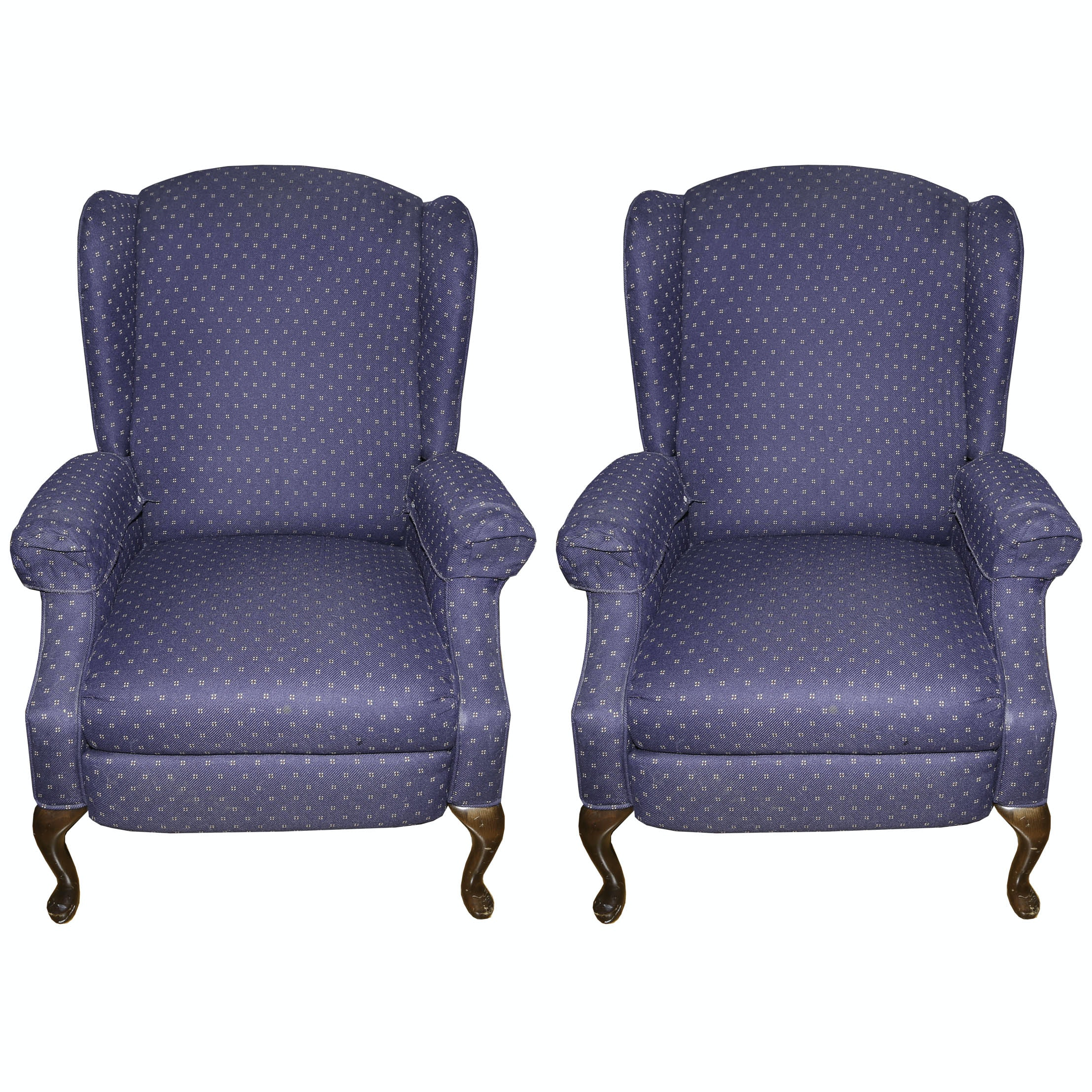 Queen Anne Style Upholstered Wingback Chairs