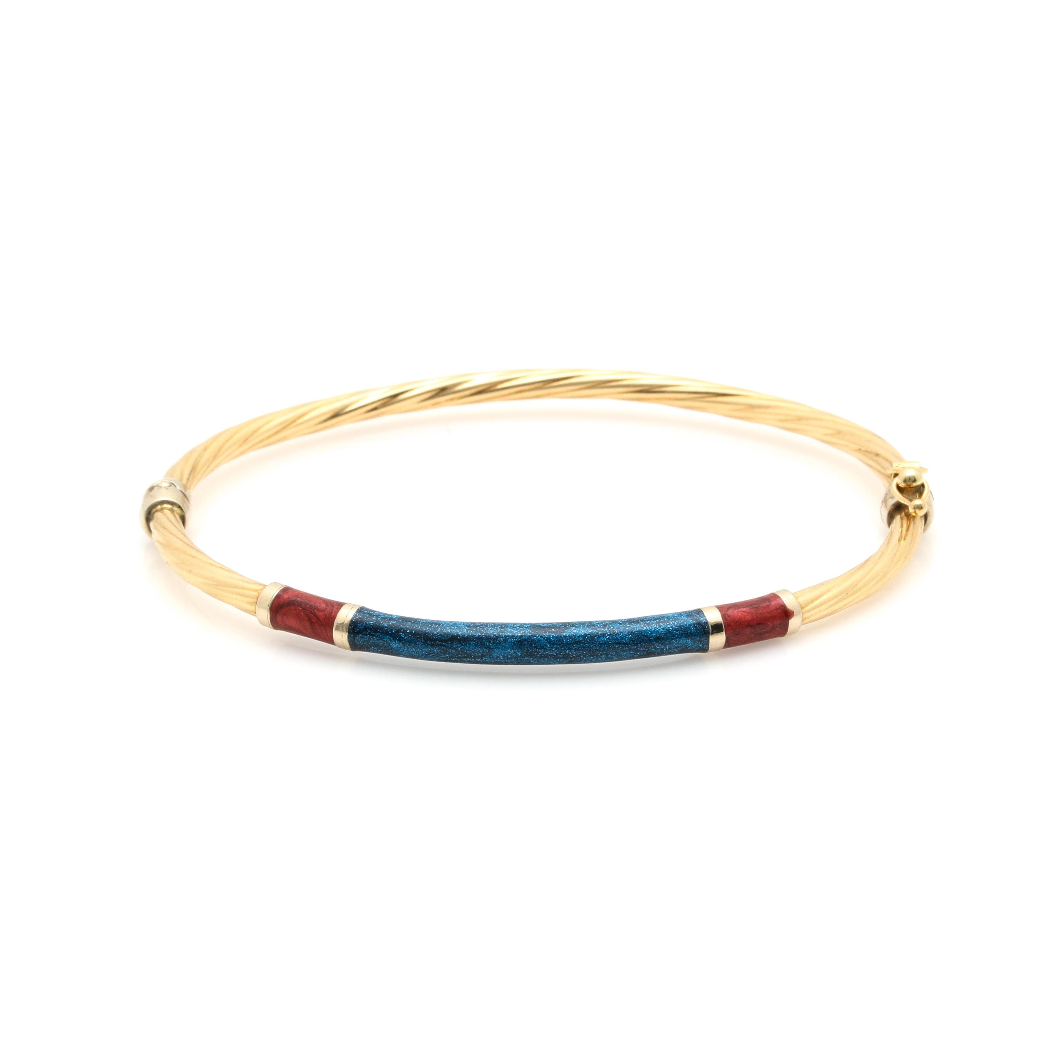 18K Yellow Gold Enamel Bangle Bracelet