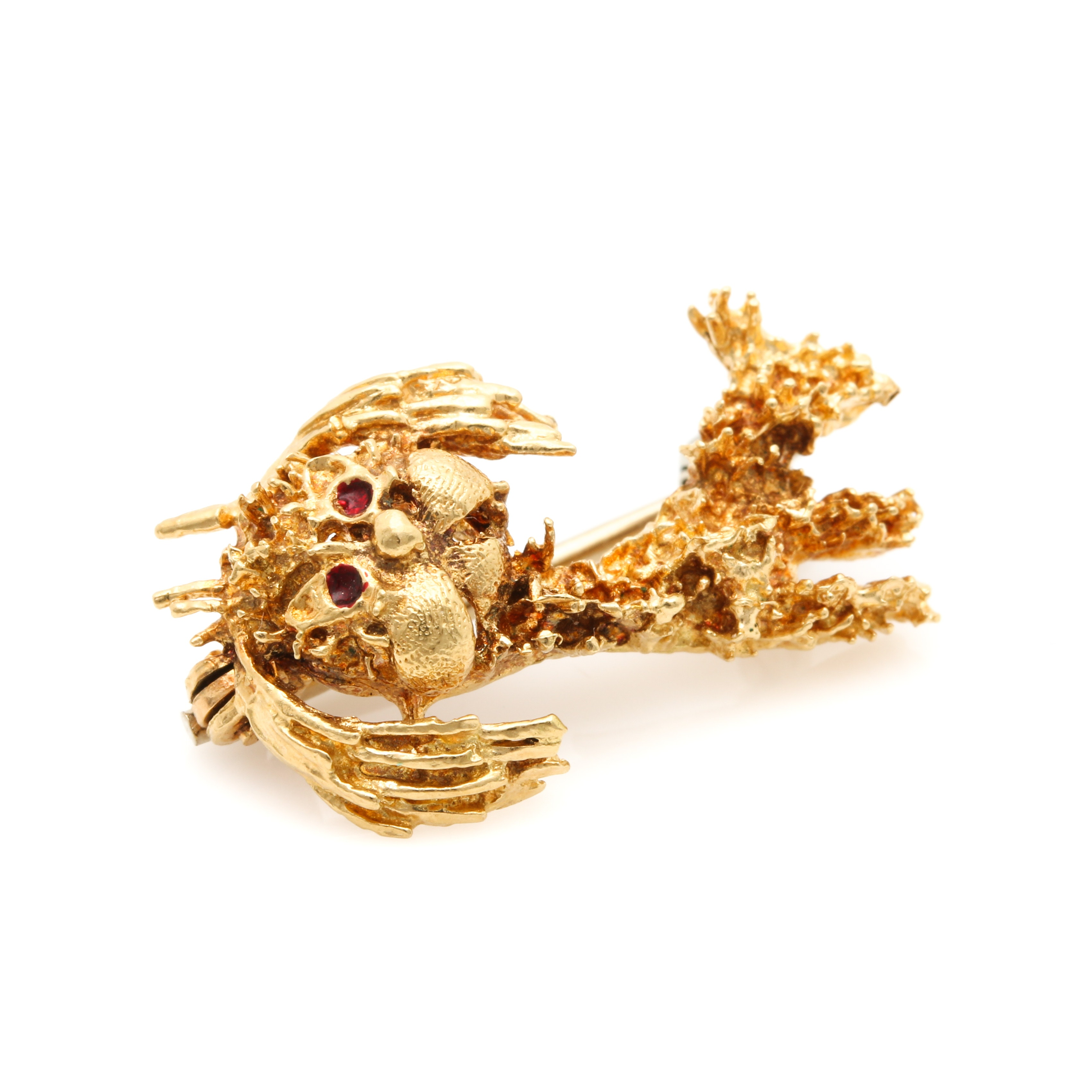 18K Yellow Gold Figural Dog Brooch