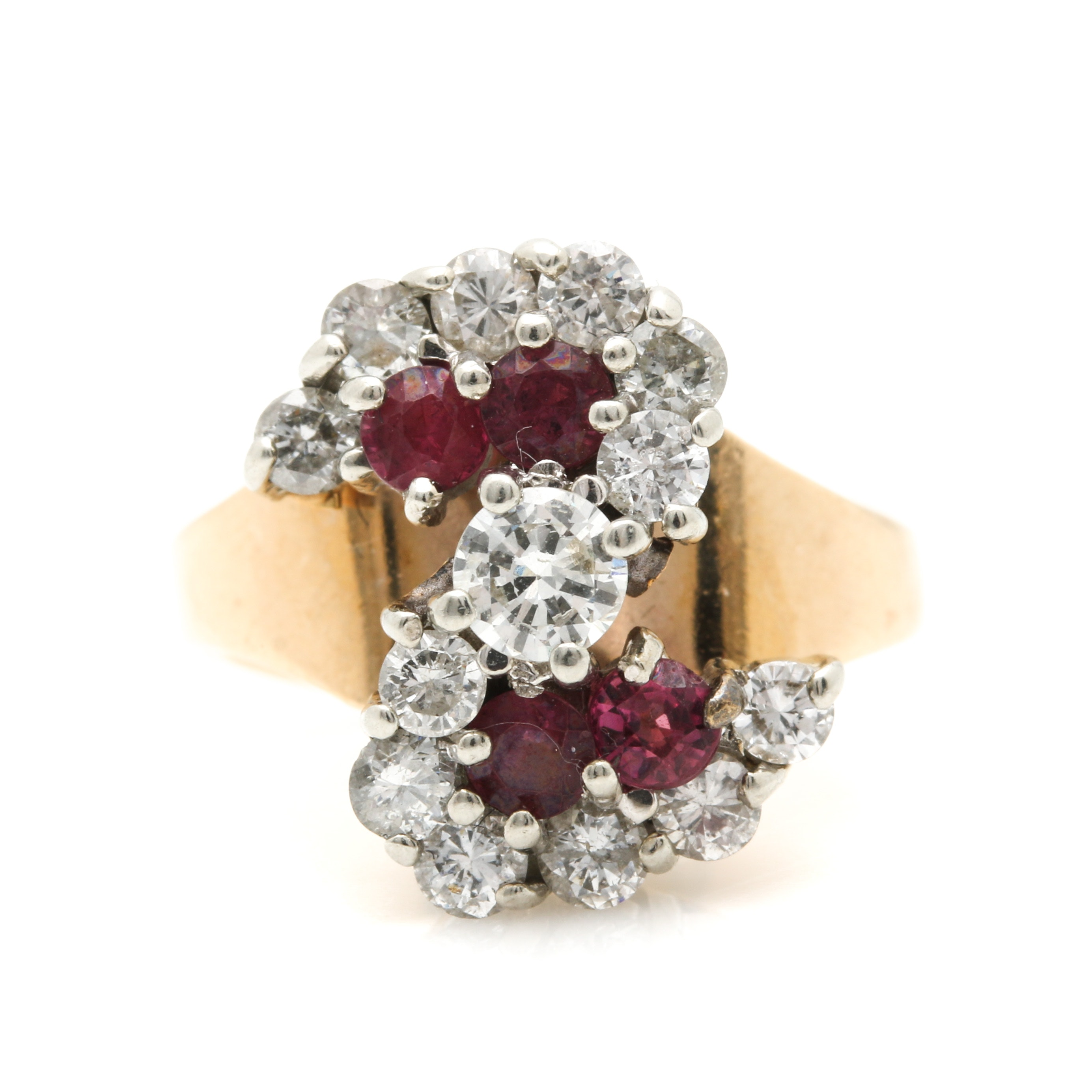 14K Two-Tone Gold 0.90 CTW Diamond and Ruby Ring