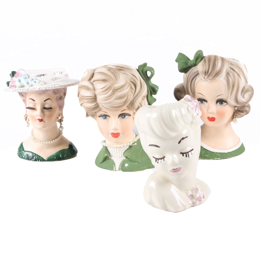 Vintage Lady Head Vases Including Napcoware And Sonsco Ebth