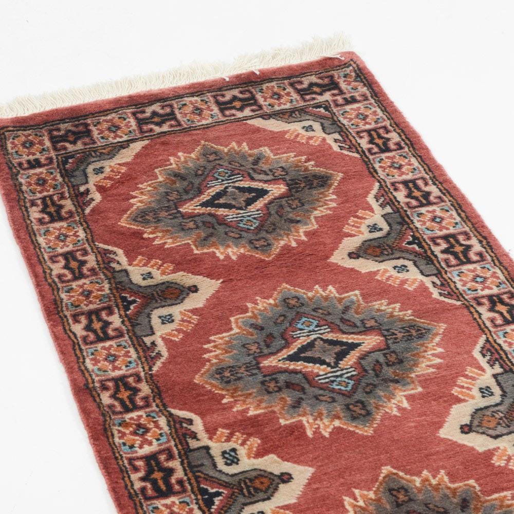 Hand-Knotted Pakistani Bokhara Carpet Runner