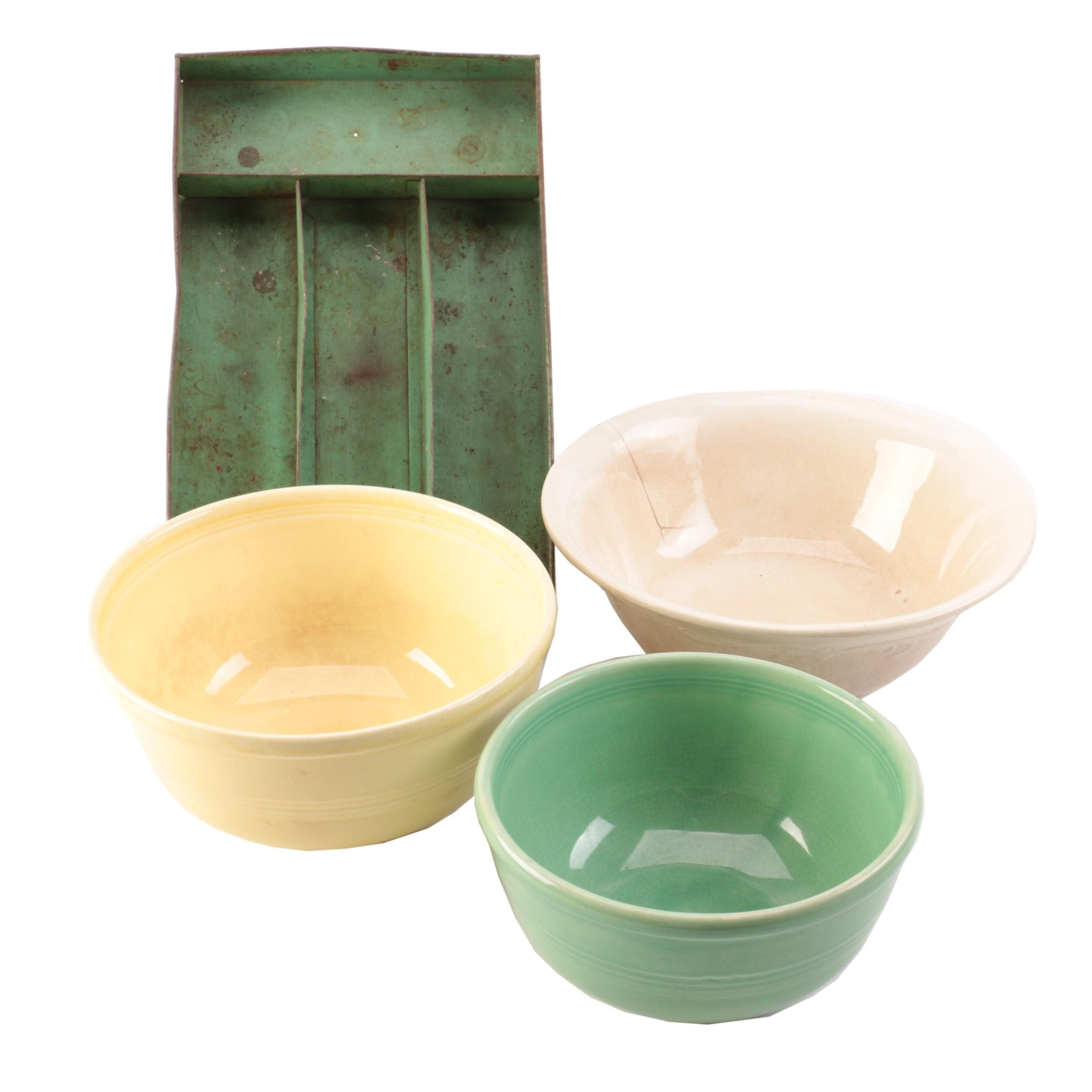 Sevilla Pottery Mixing Bowls and Metal Utensil Storage Tray