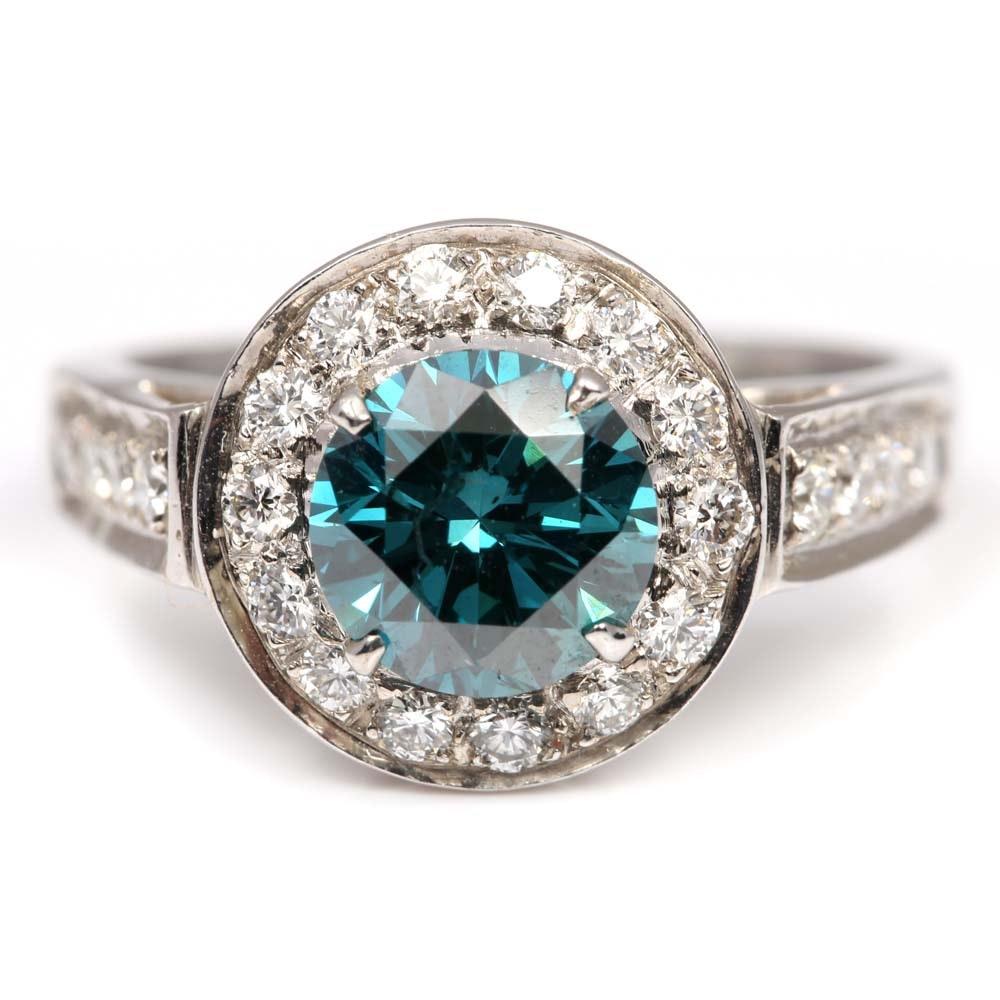 18K White Gold 1.55 CT Irradiated Blue Diamond Halo Ring