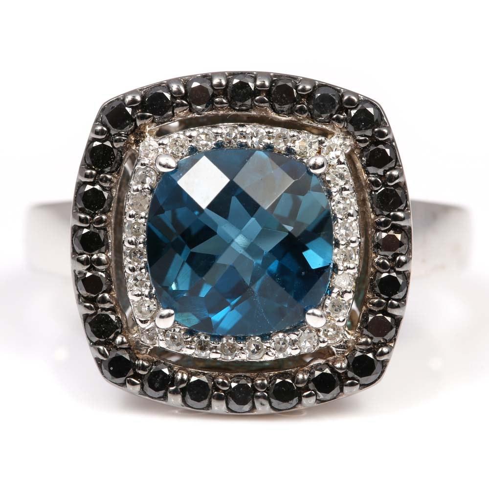 14K White Gold 2.80 CT Blue Topaz Diamond and Black Diamond Halo Ring