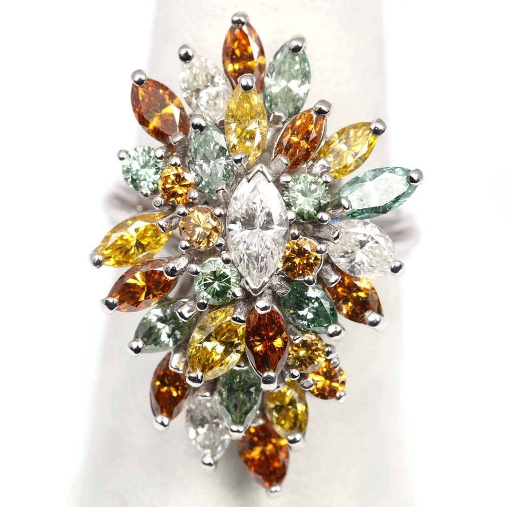 14K White Gold Marquise Diamond Cluster Ring