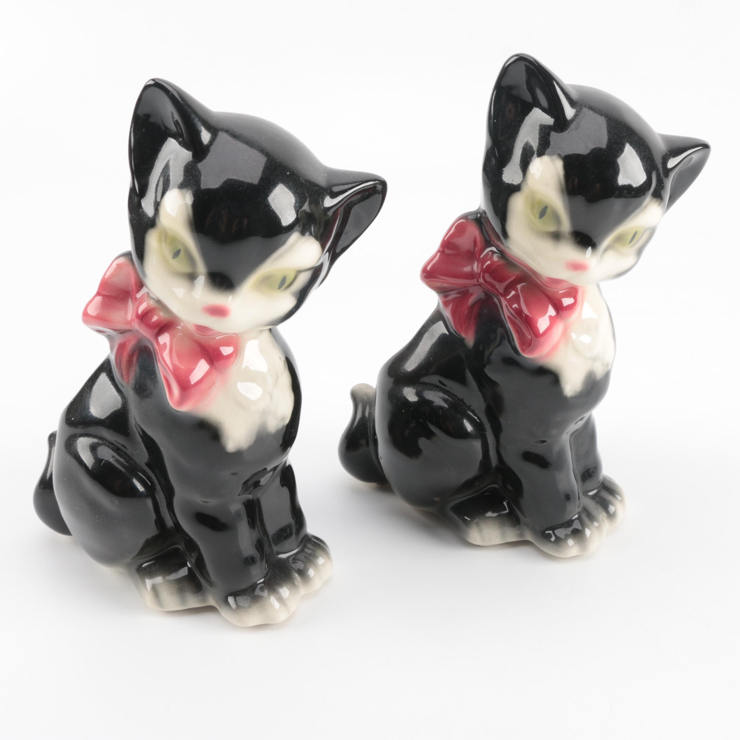 Two Ceramic Cat Planters