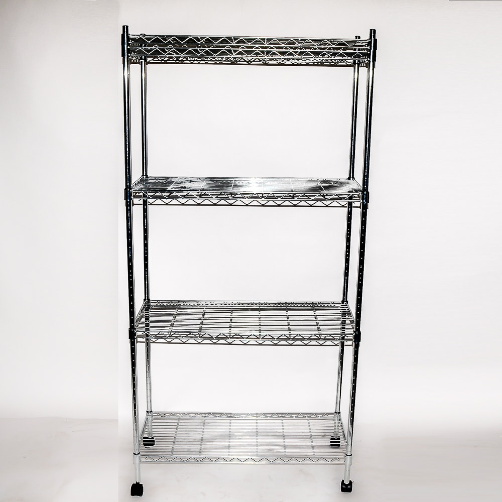 Four Tiered Wire Shelving Rack on Casters