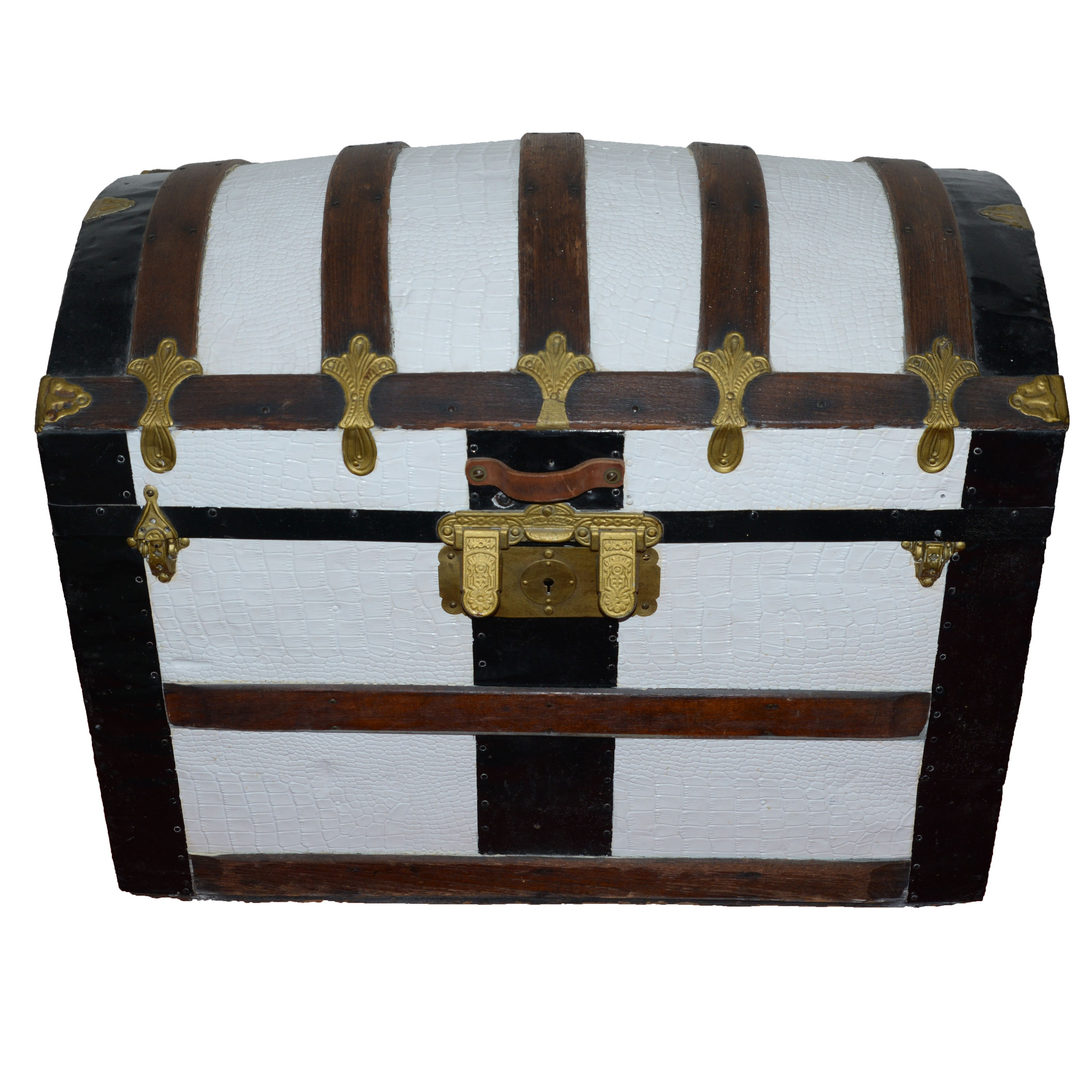 Painted Faux Reptile Skin Steamer Trunk
