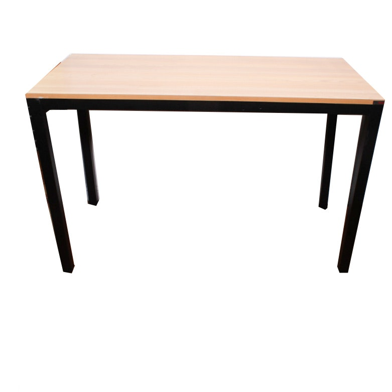 Office Table With Natural Oak Top on Black Base
