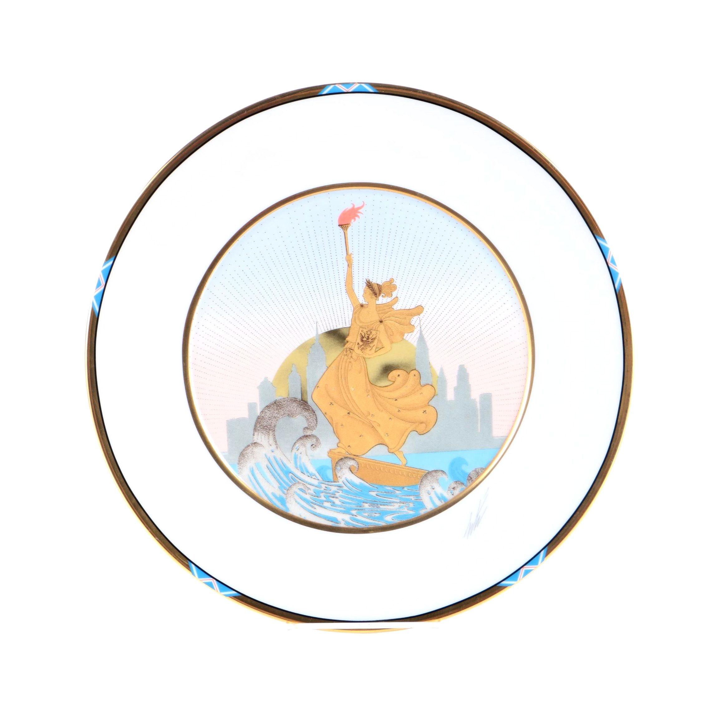 """Erte Sevenarts Limited Porcelain Plate After """"Statue of Liberty"""""""