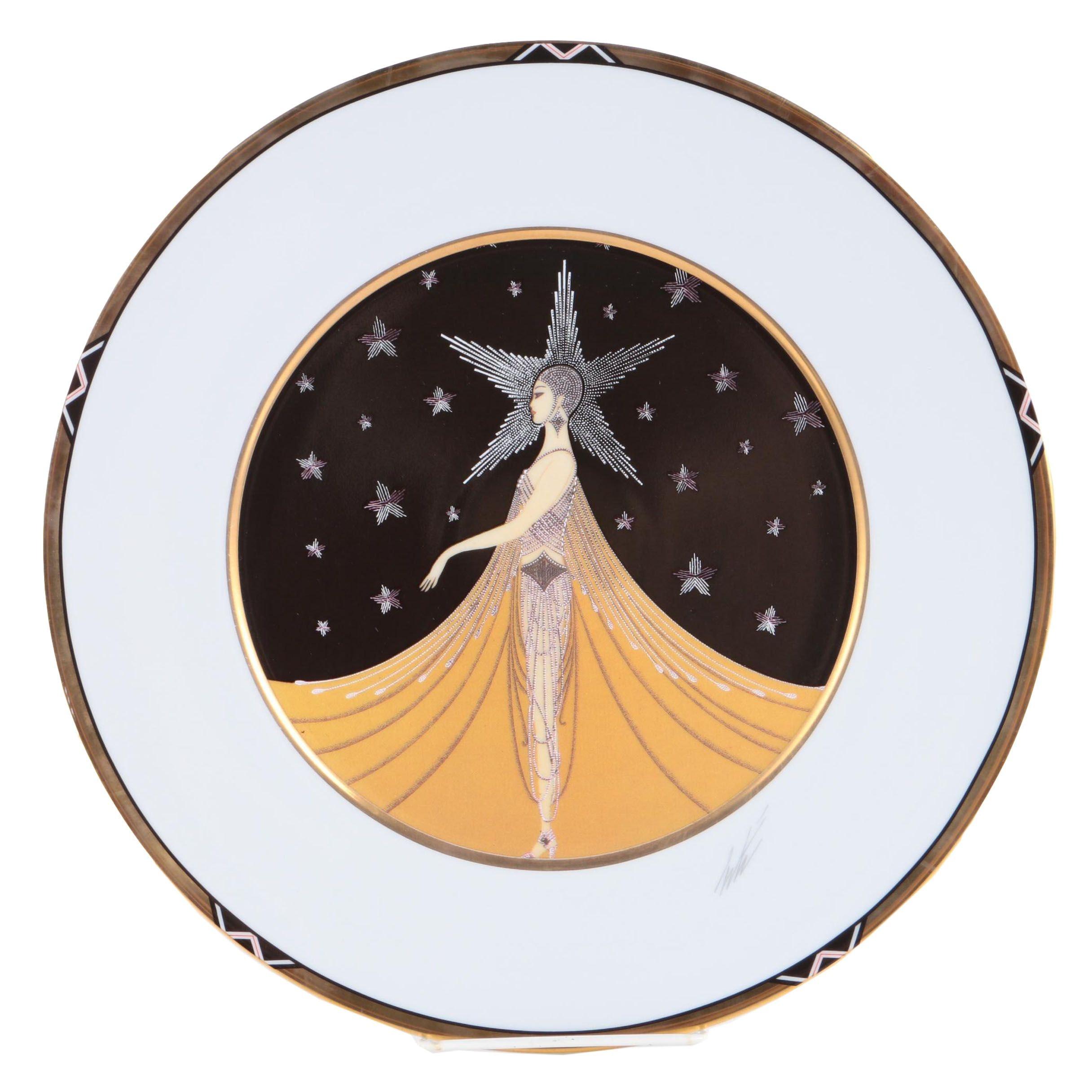 """Erte Sevenarts Limited Porcelain Plate After """"New York, New York"""""""