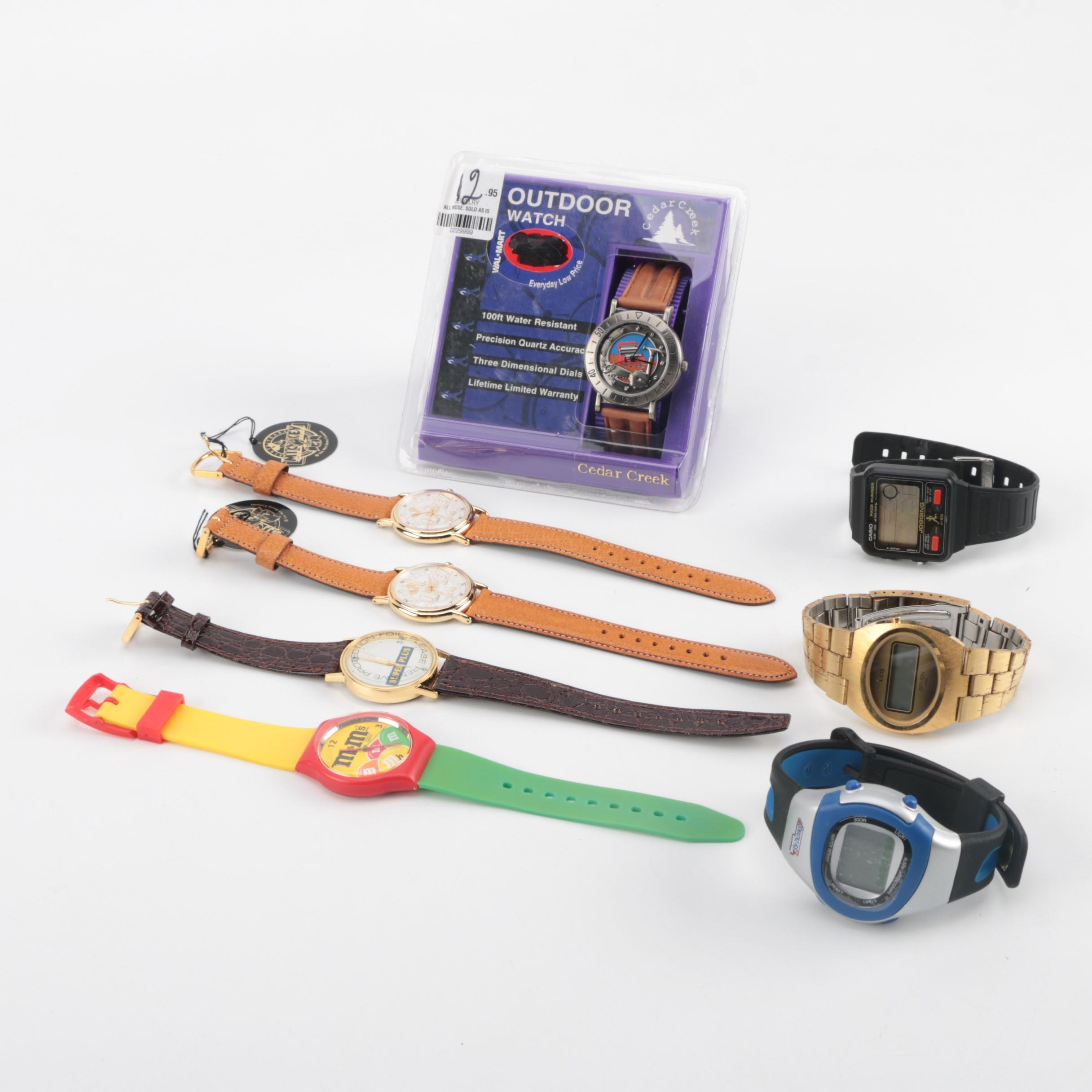 Grouping of Collector Watches Including Mickey and Candy Watches