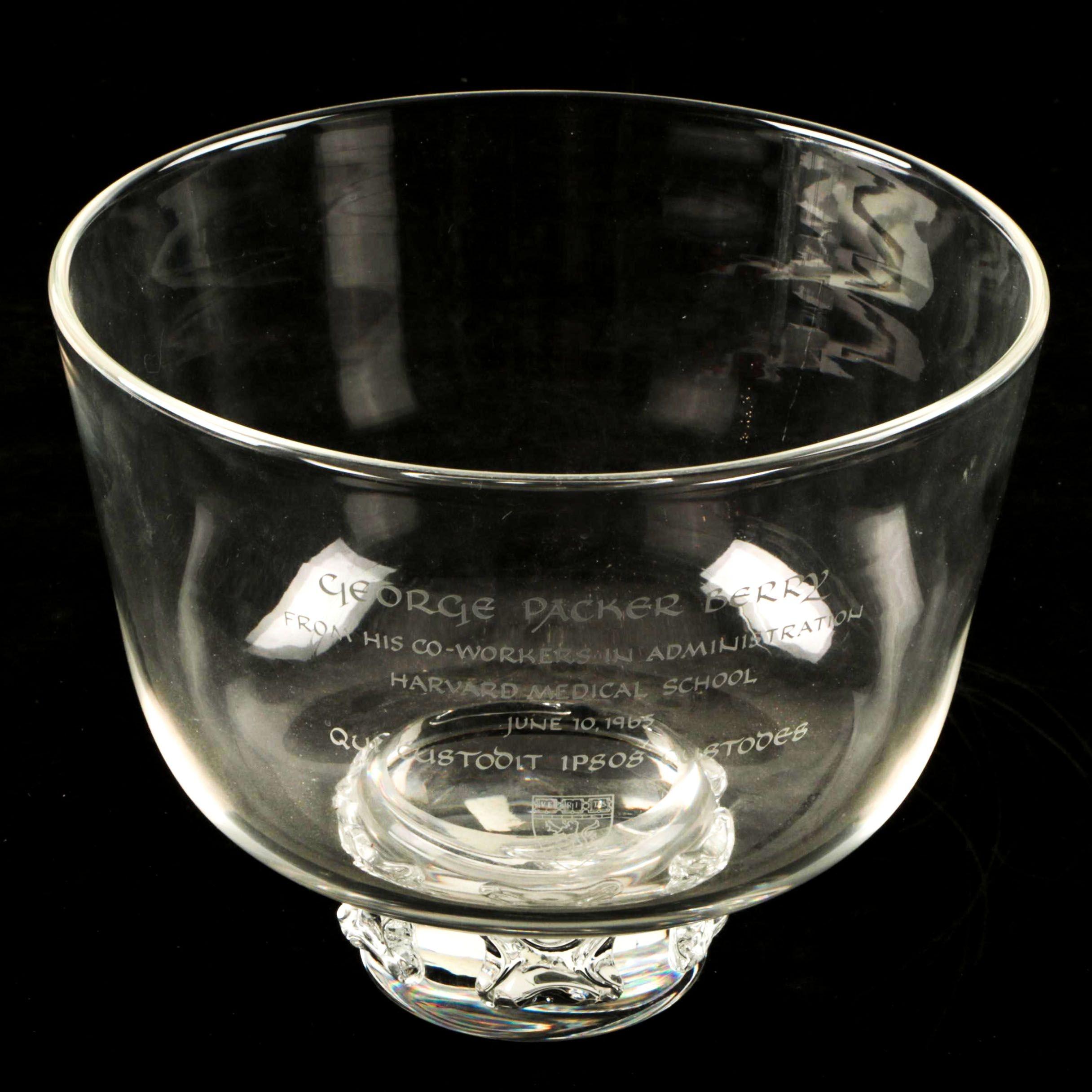 Vintage Steuben Crystal Engraved Harvard Bowl