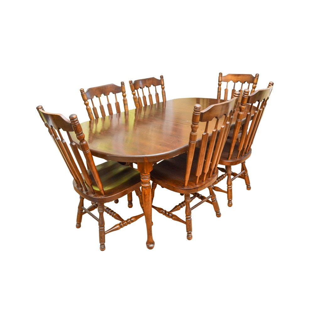 Vintage Cherry Oval Dining Table & Chairs