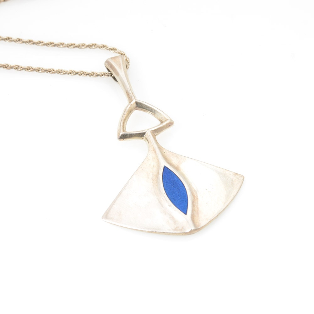 Sterling Silver Imitation Lapis Lazuli Necklace