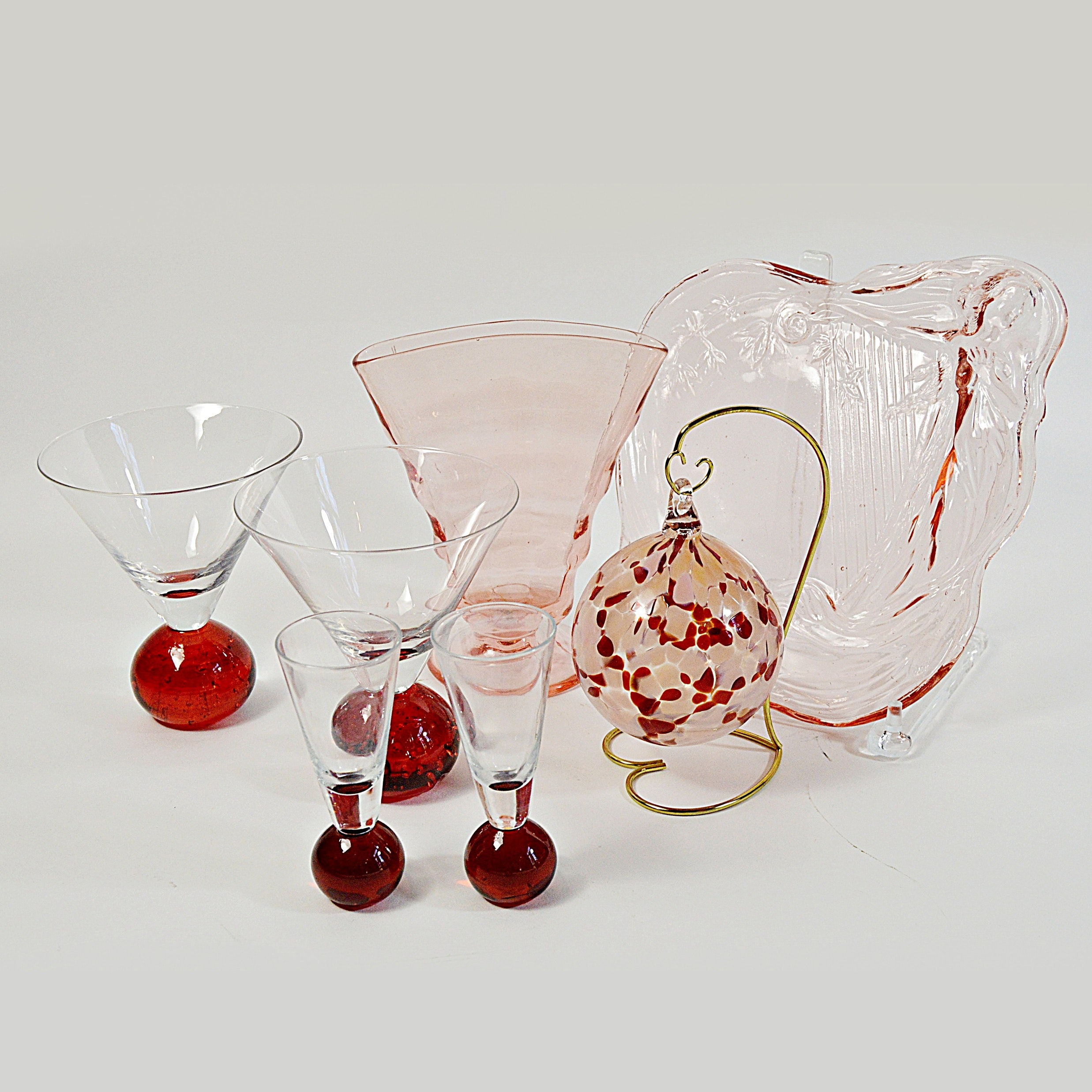 Pink and Red Glassware with Handblown Ornament