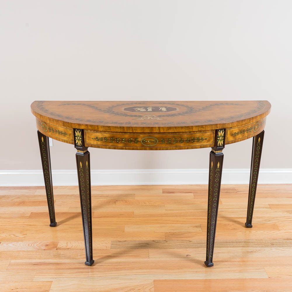 Painted Demilune Table by Maitland-Smith