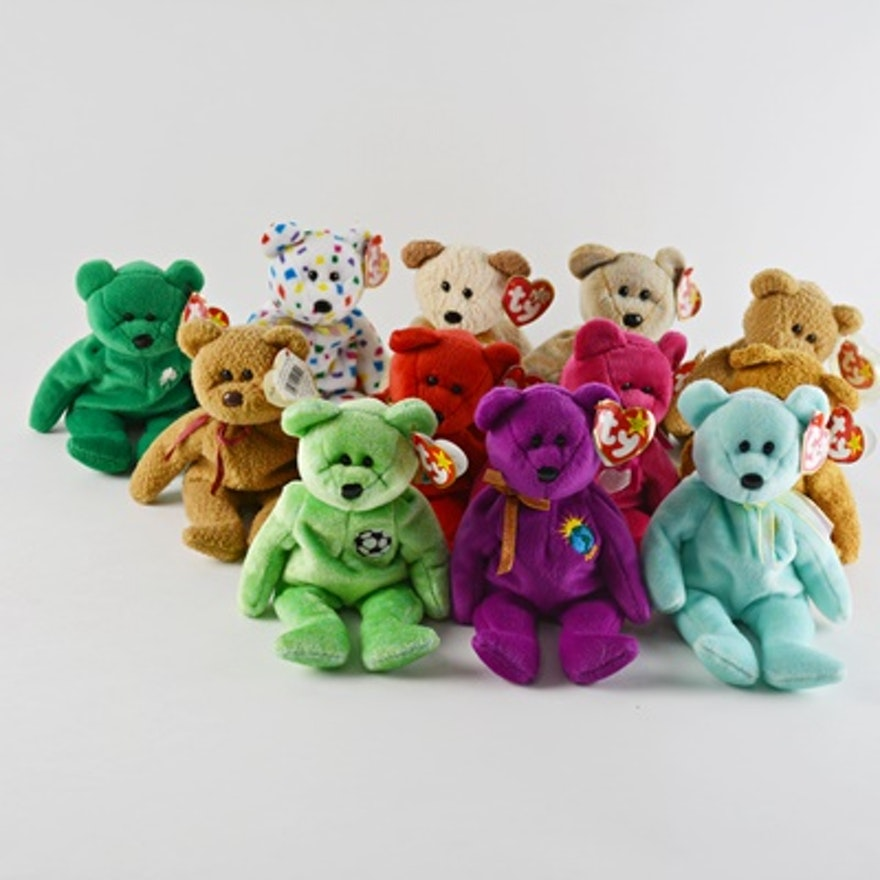 ty beanie baby collection of twelve bears ebth. Black Bedroom Furniture Sets. Home Design Ideas
