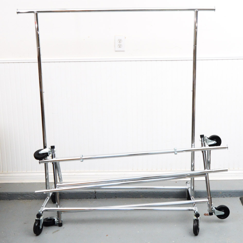 Pair of Portable Adjustable Clothing Racks