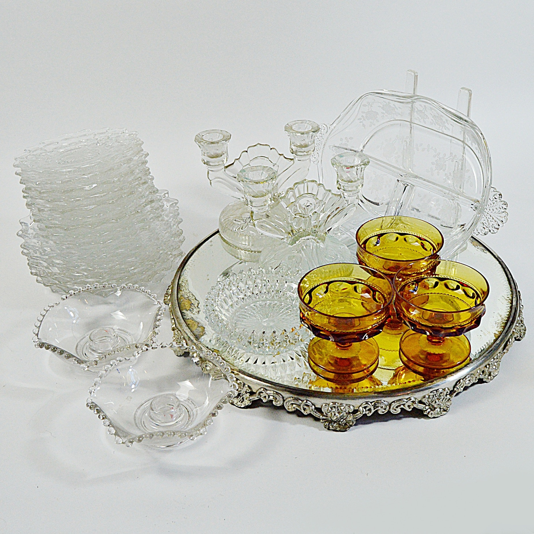 Vintage Glassware with Antique Plateau Mirror, Depression Glass