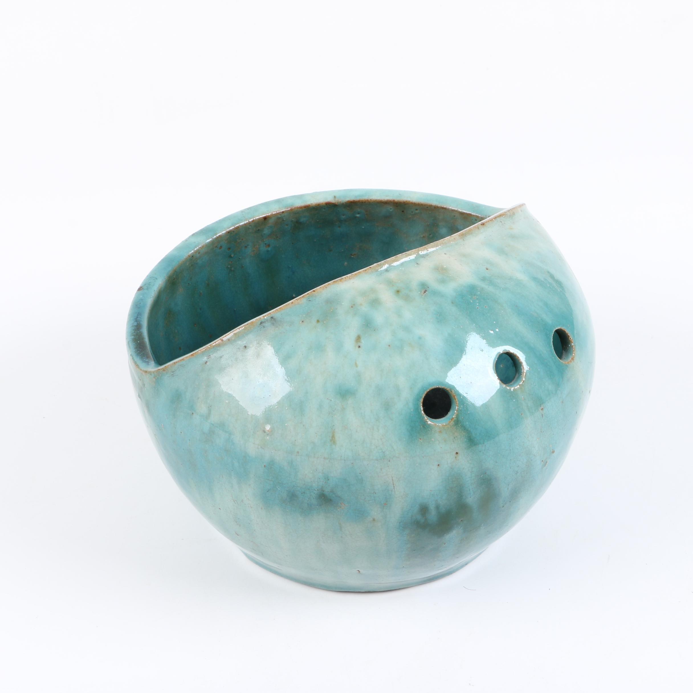 Antique Chinese Ceramic Vegetable Strainer