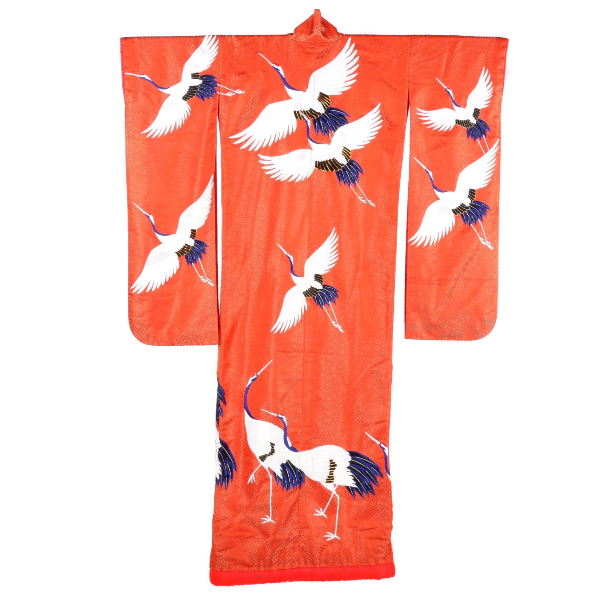 Circa 1950s Vintage Hand Sewn Silk Satin Uchikake Kimono