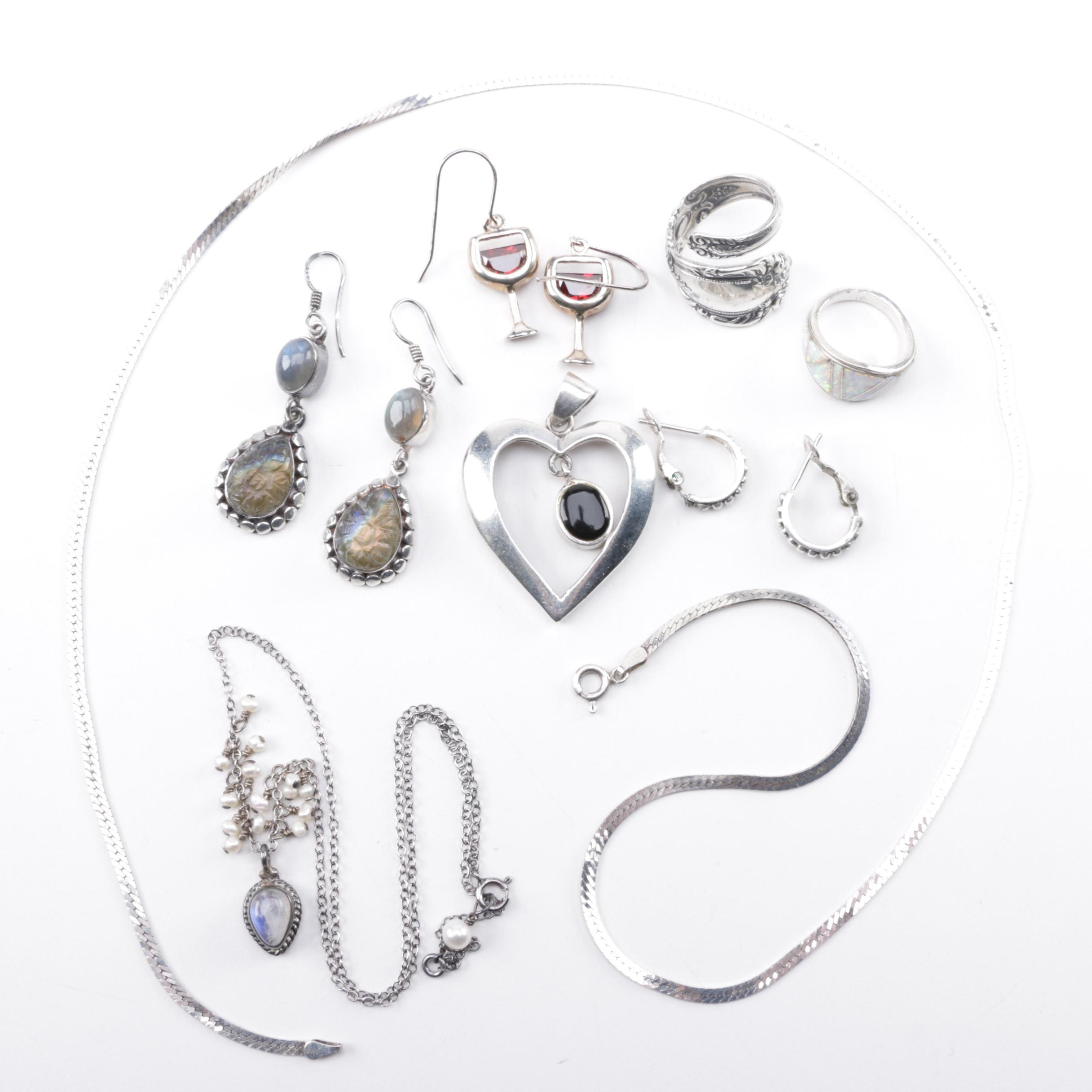 Grouping of Sterling Silver Jewelry Including Labradorite