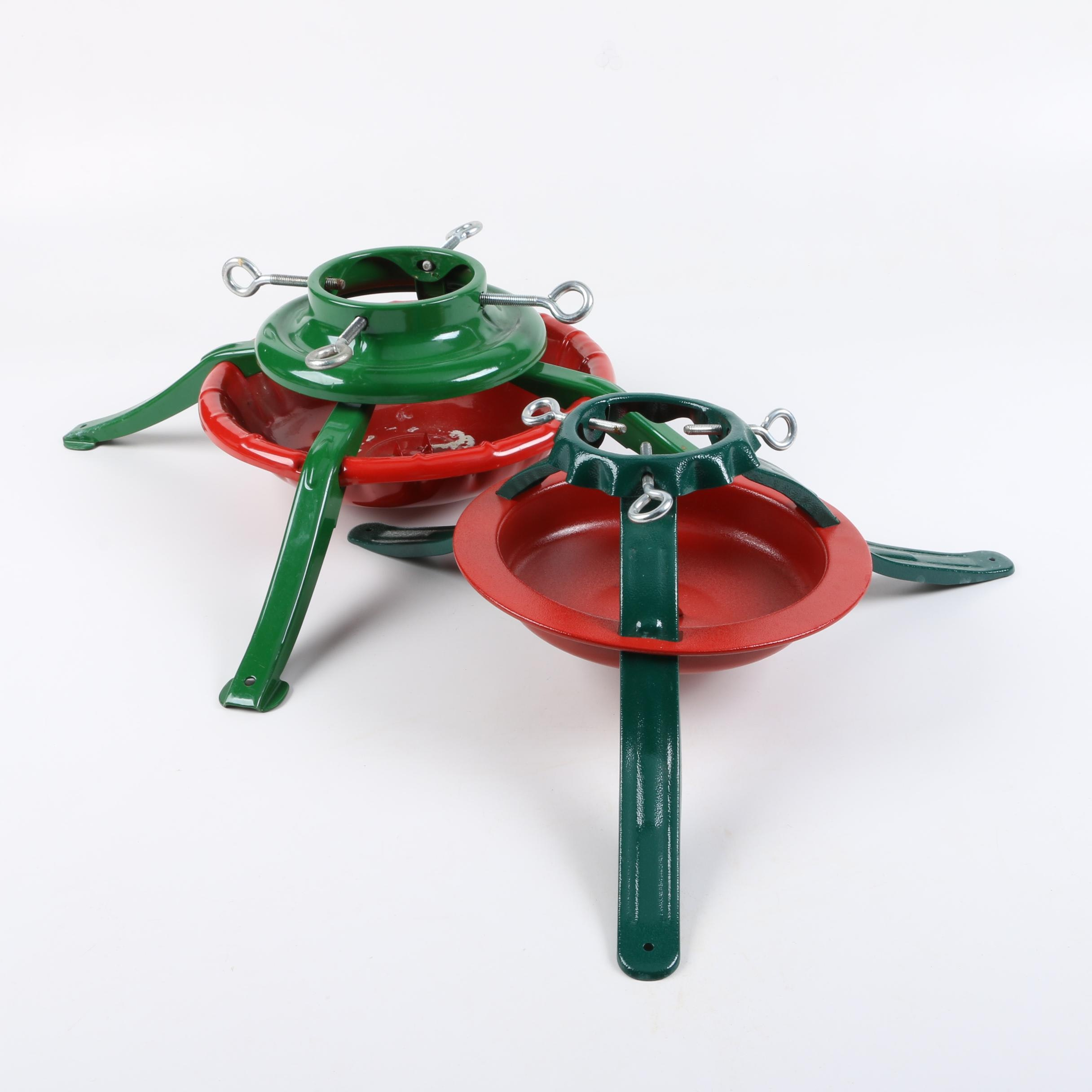 Pair of Red and Green Metal Christmas Tree Stands