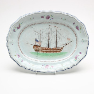 Antique Chinese Export Meat Dish with Ship Scene