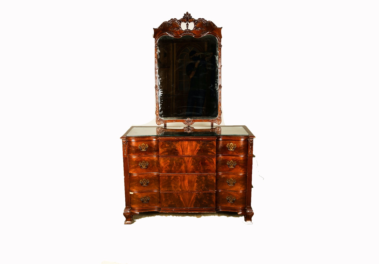 Vintage Chippendale Style Mahogany Dresser with Mirror