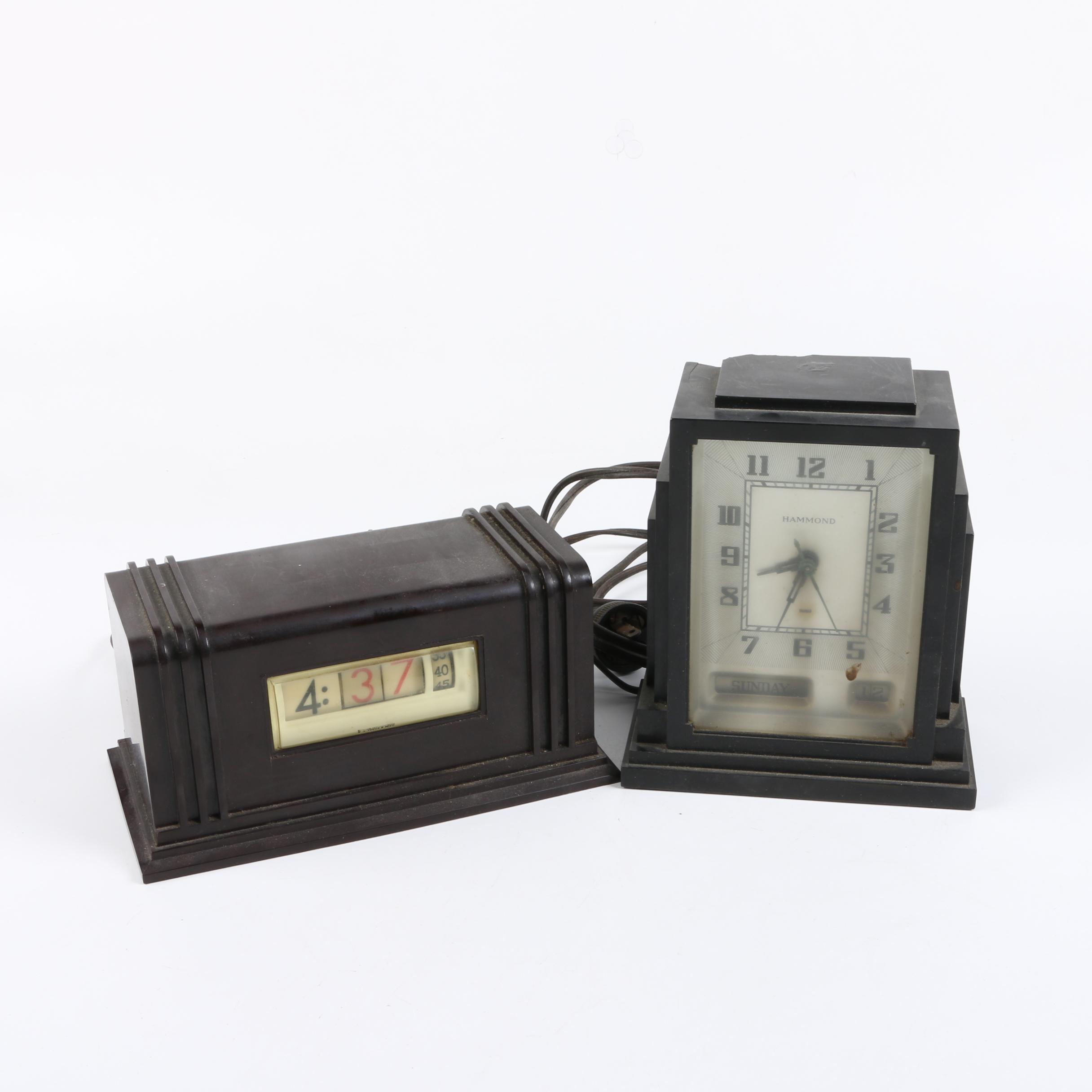 Vintage Numechron and Hammond Desk Clocks
