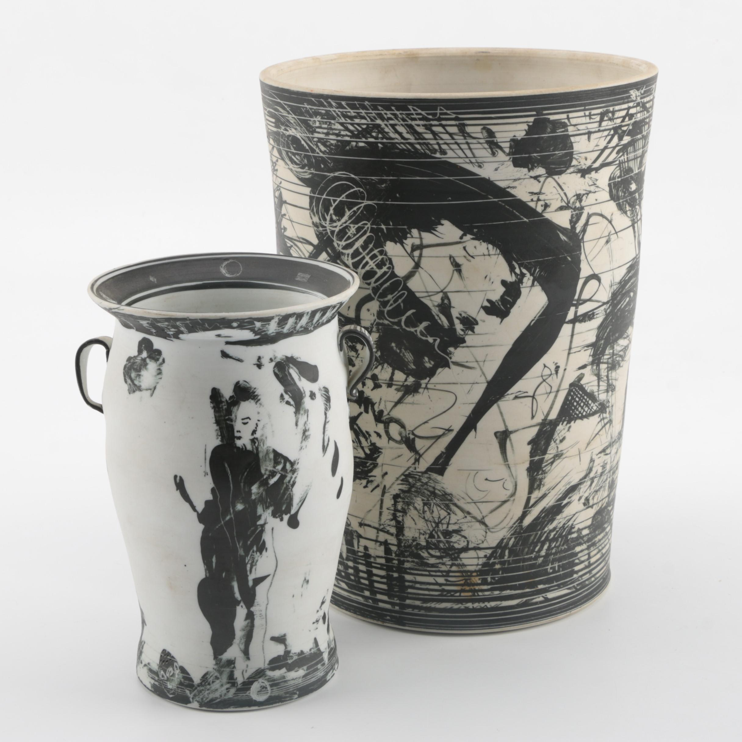 Signed Postmodern Edward S. Eberle Porcelain Vase