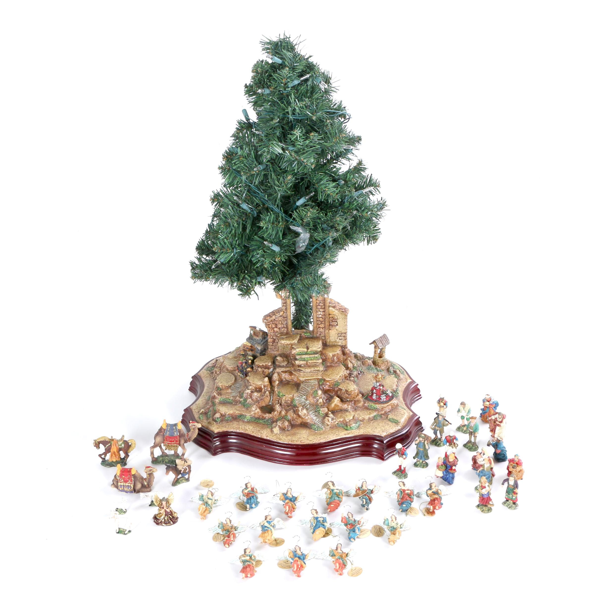 """Nativity Christmas Tree"" And Ornaments"