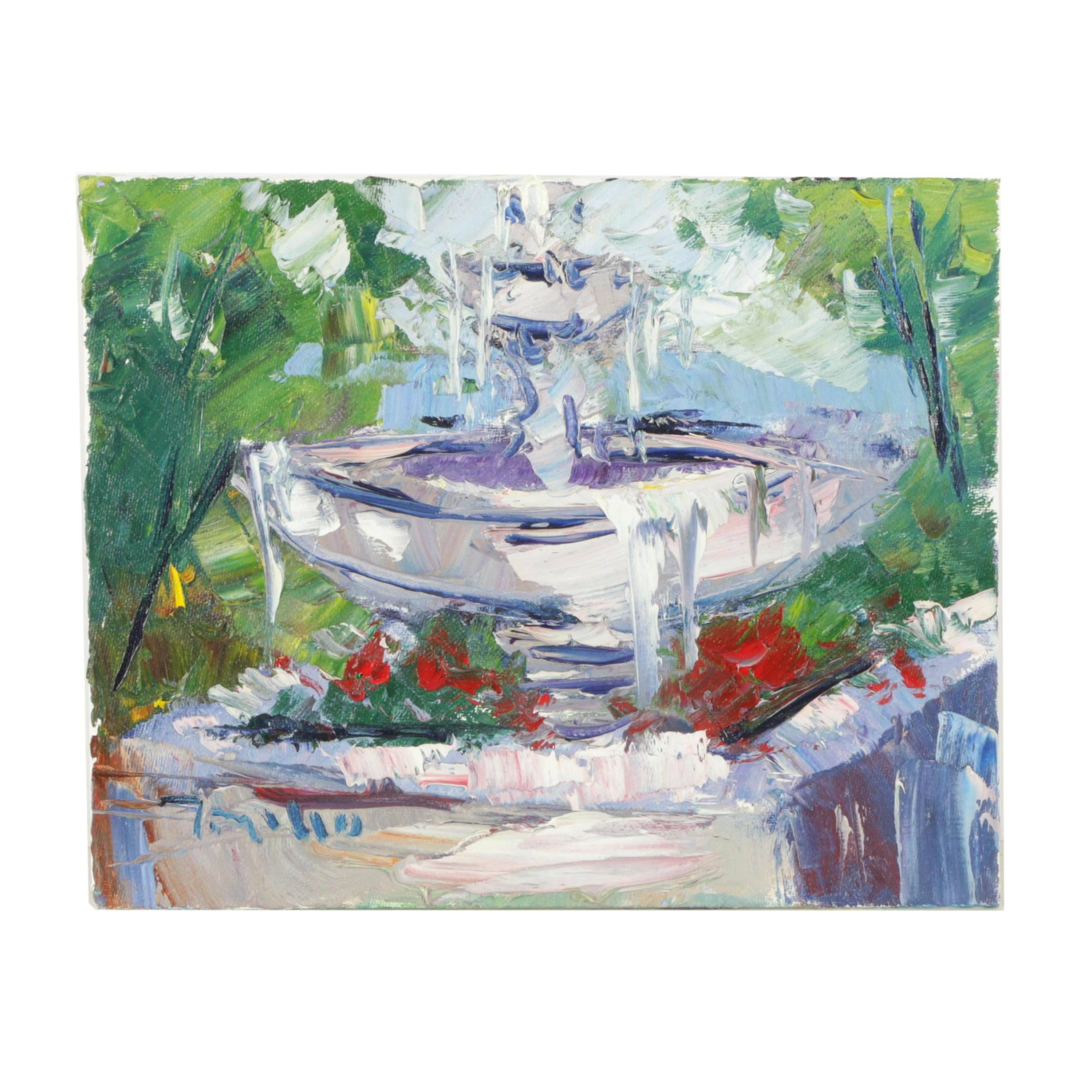 "Jose Trujillo Oil Painting on Canvas Board ""The Fountain"""