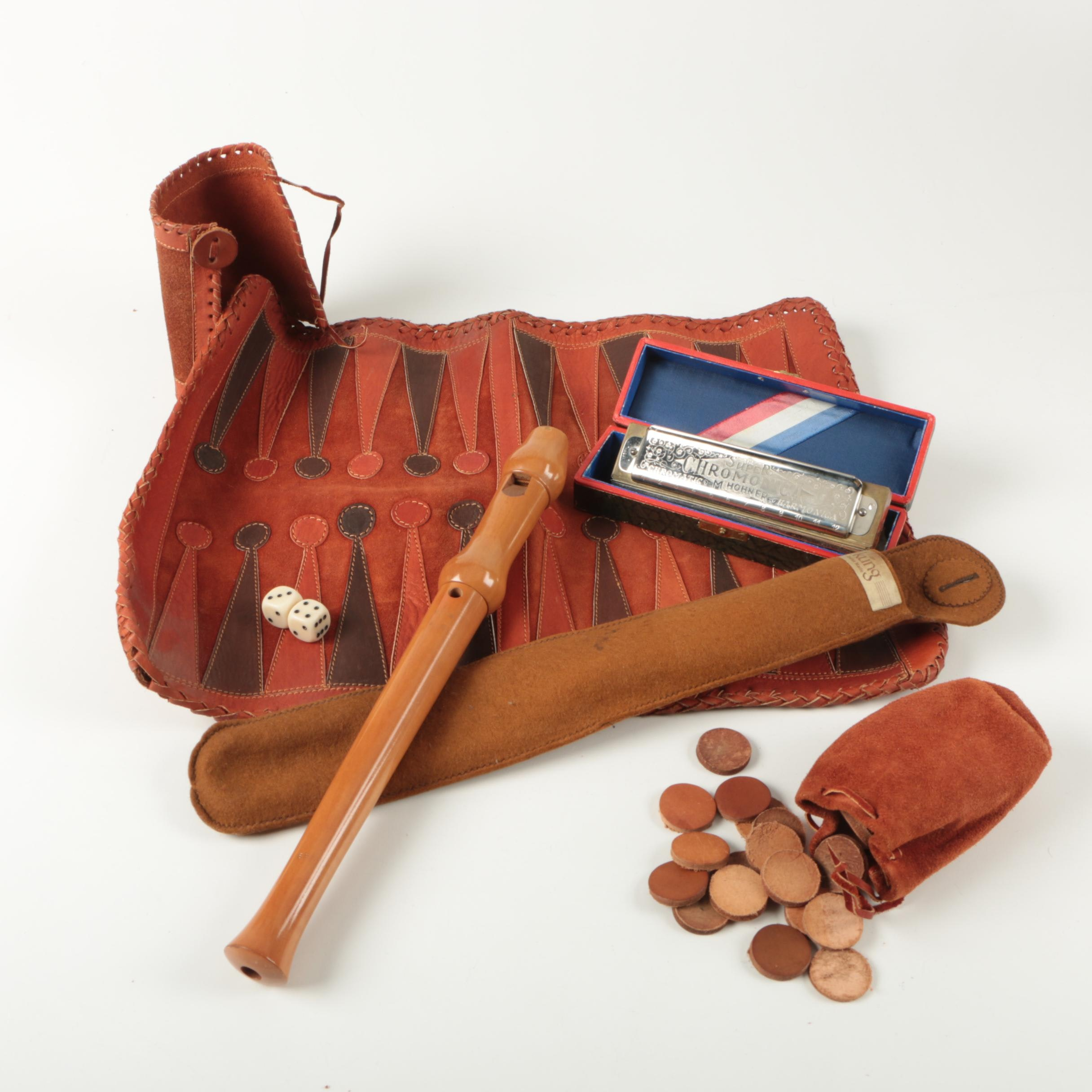Vintage Wooden Recorder, Hohner Harmonica, and Leather Travel Backgammon Set