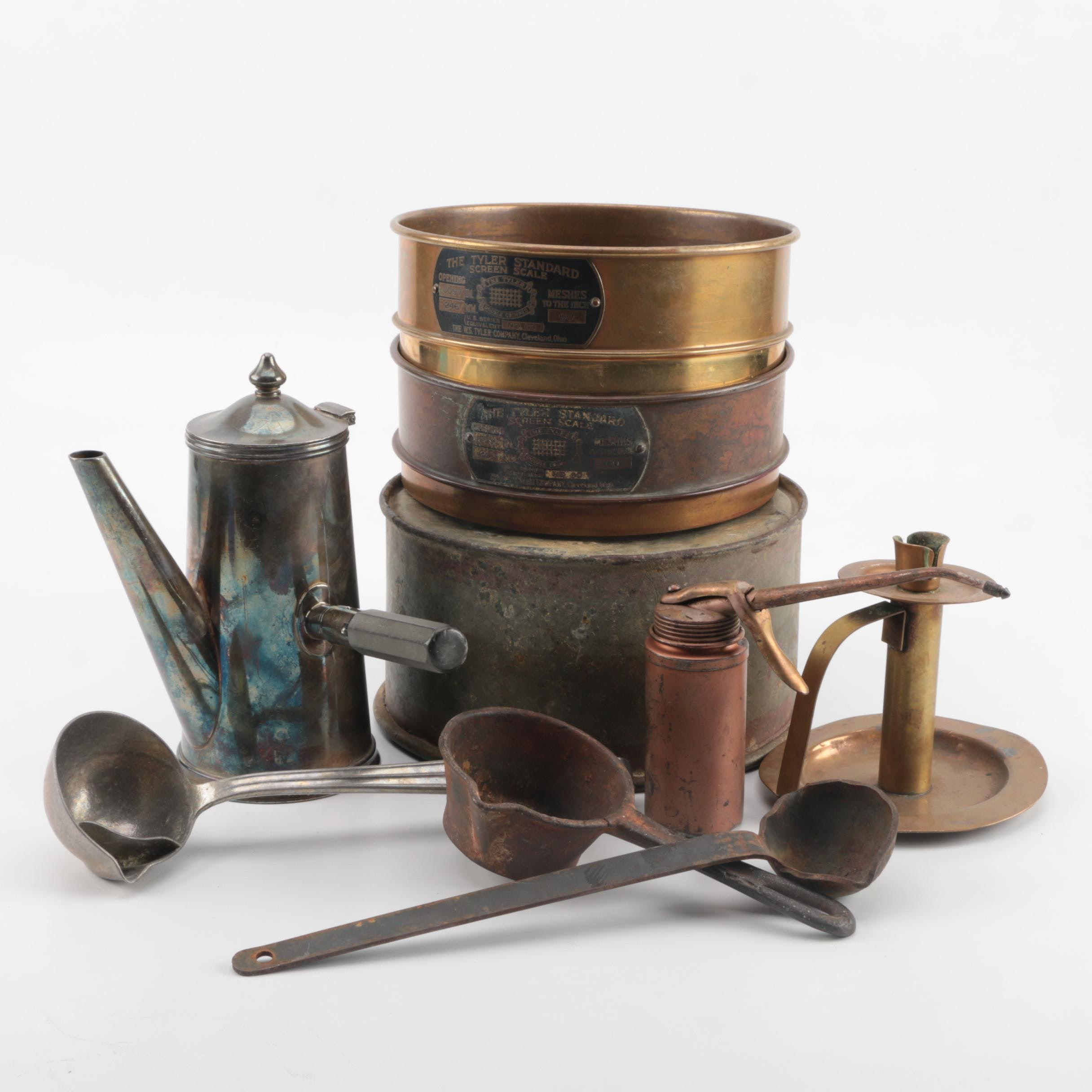 Assortment of Vintage Metal Tools and Kitchenware