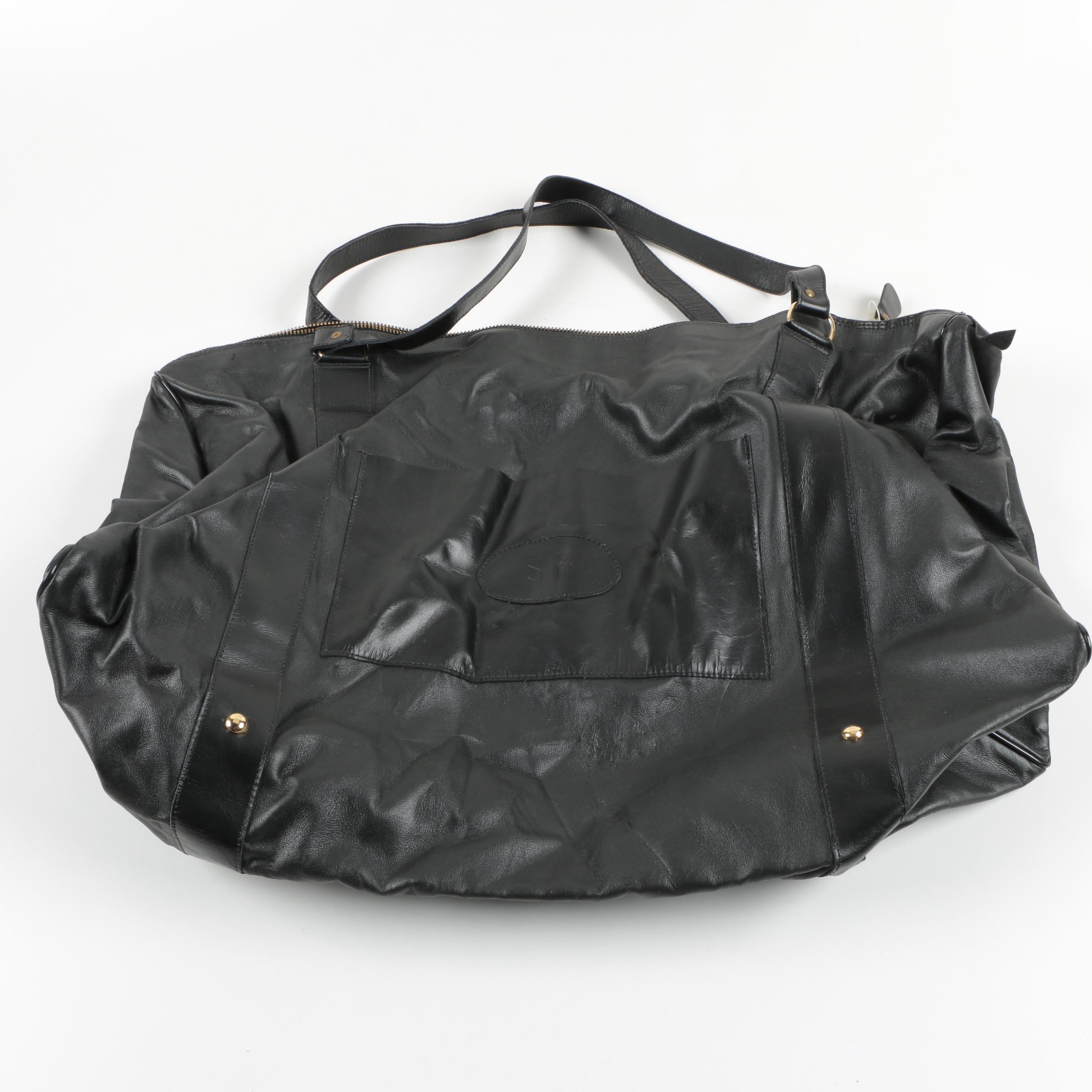 Vintage Sonia Rykiel Black Leather Tote Bag