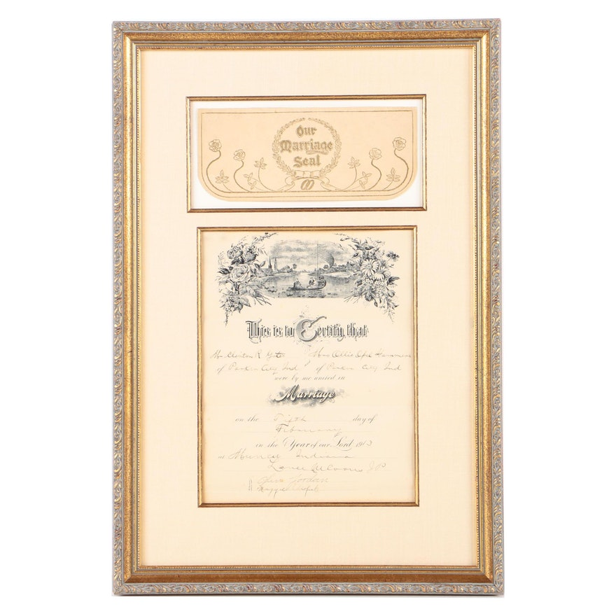 Framed Antique 1913 Marriage Certificate Ebth