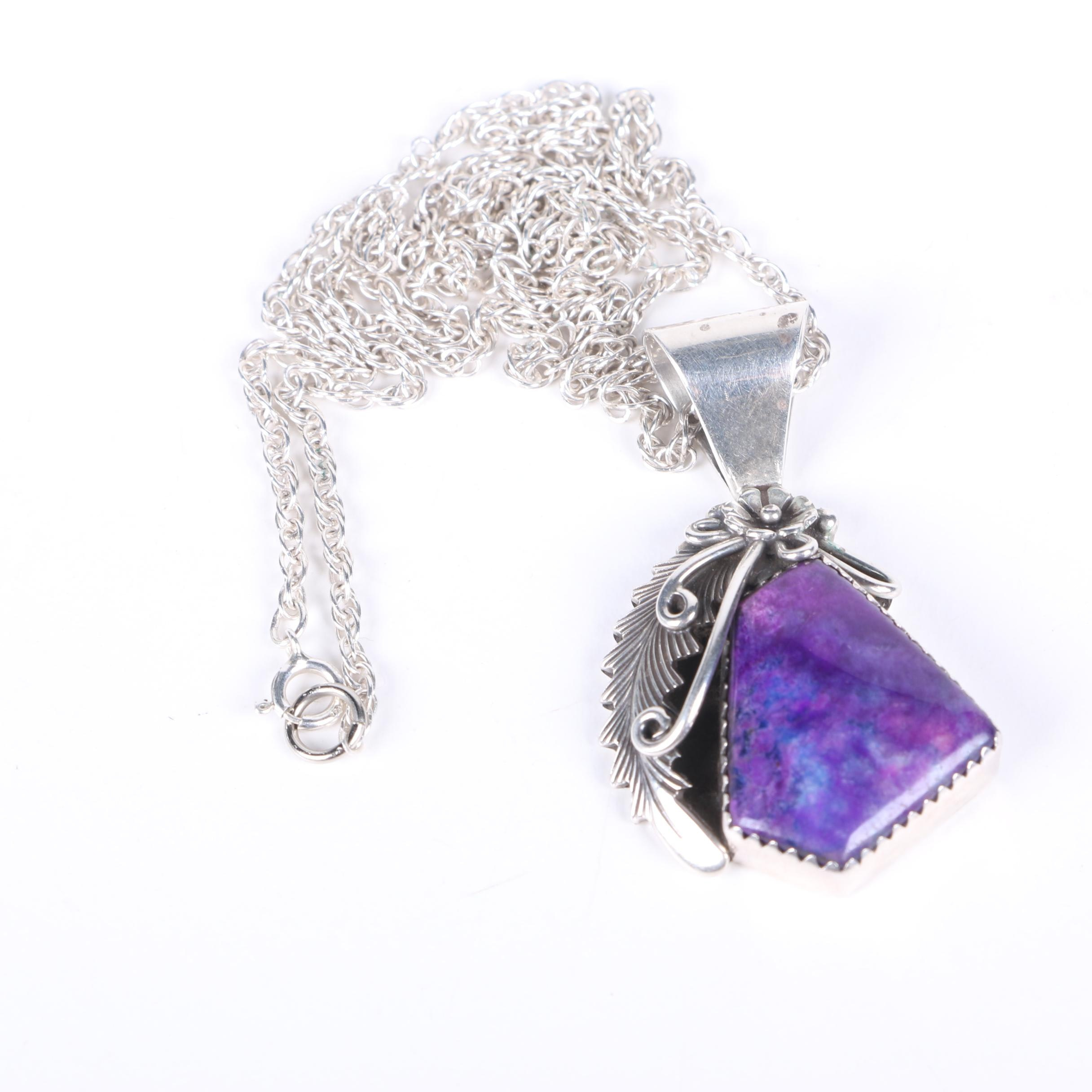 Peterson Johnson Navajo Sterling Silver Sugilite Pendant Necklace