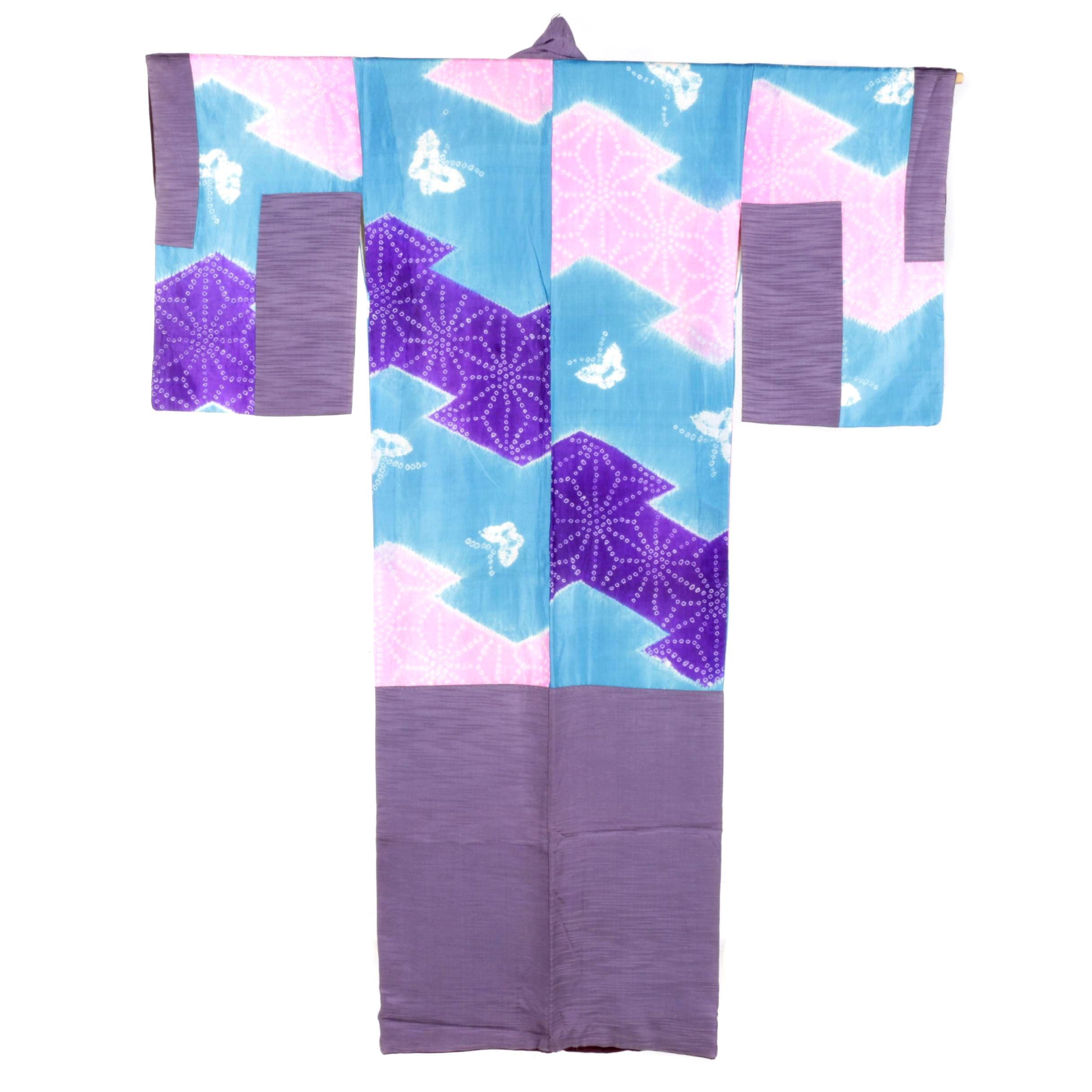 Circa 1900s Antique Patchwork Silk Crepe Kimono