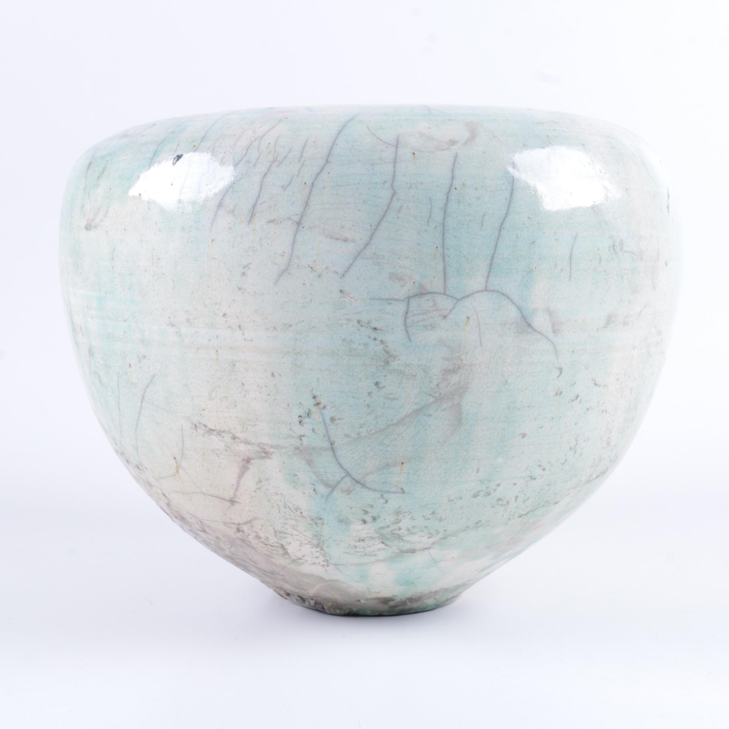 Hand Thrown Stoneware Raku Fired Vase