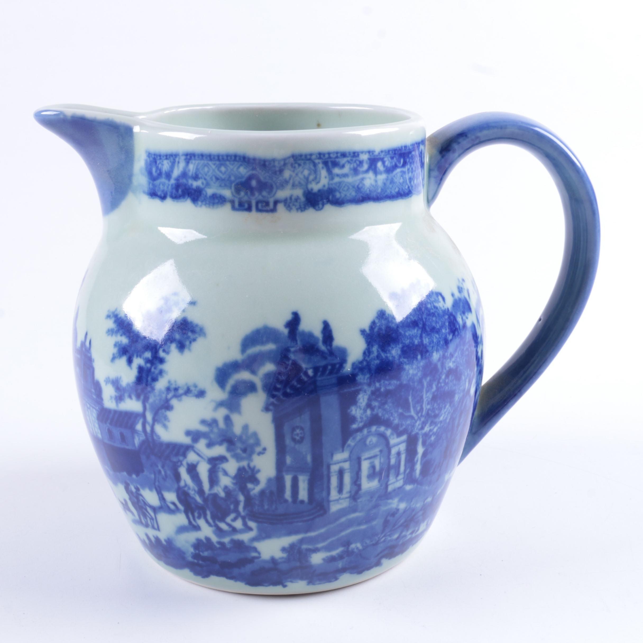 Decorative Blue and White Ceramic Pitcher